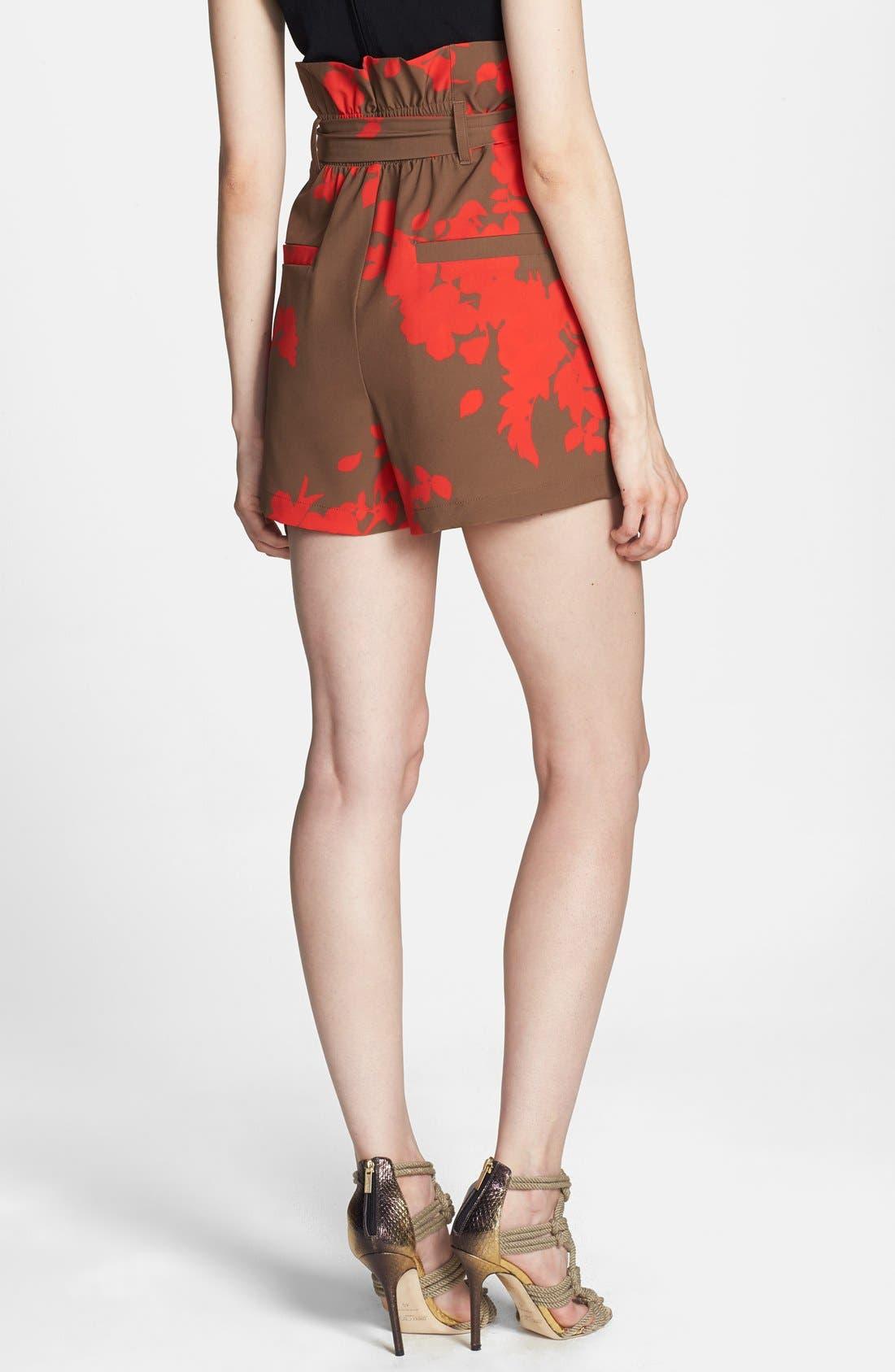 Print Tie Waist Paper Bag Shorts,                             Alternate thumbnail 3, color,                             210