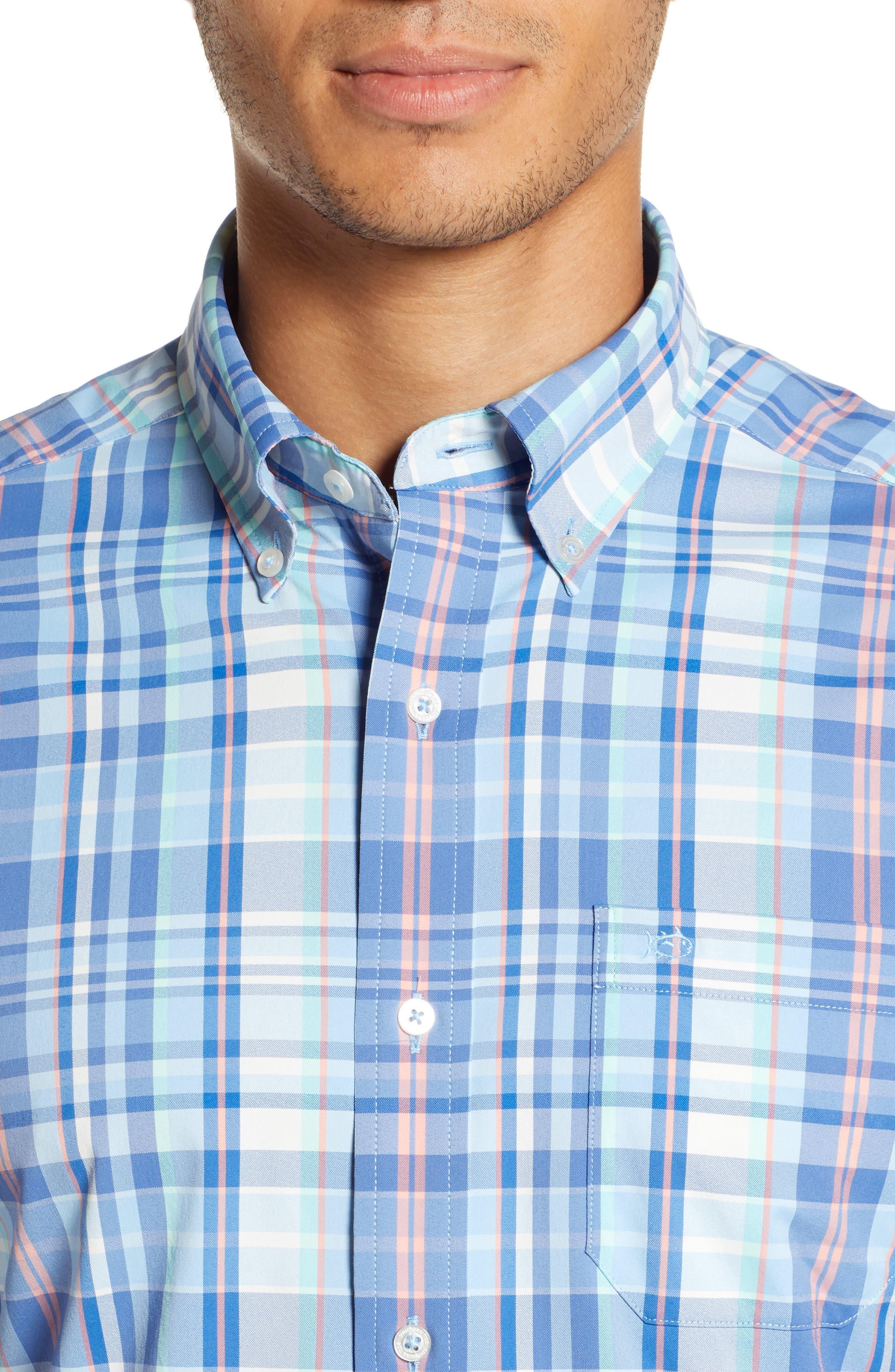 Siesta Intercoastal Regular Fit Plaid Performance Sport Shirt,                             Alternate thumbnail 2, color,                             SKY BLUE