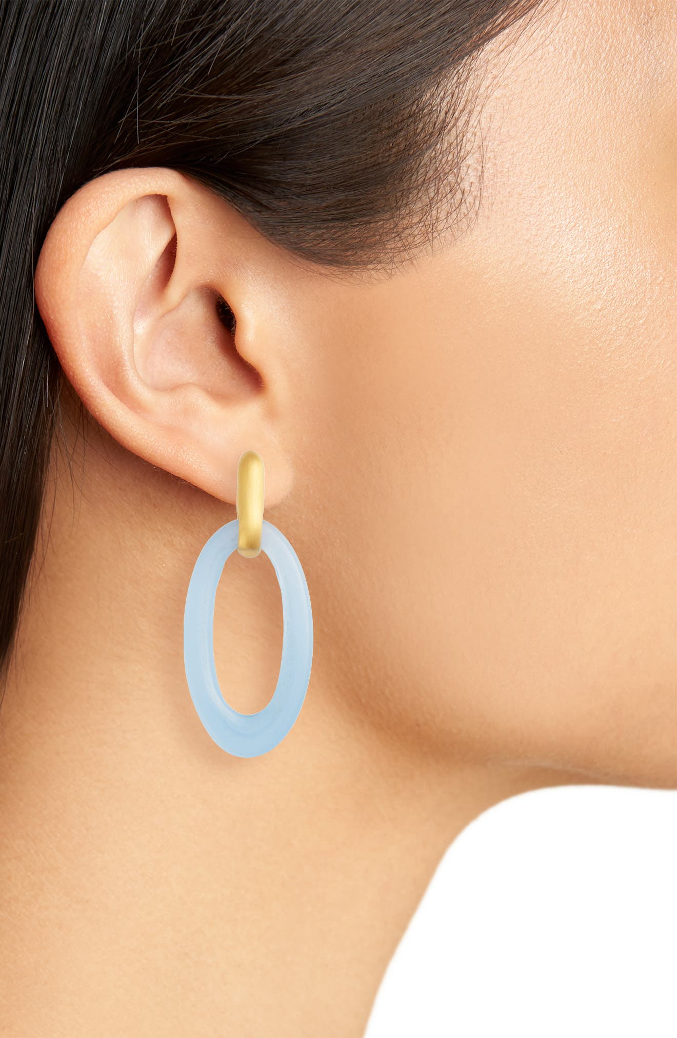 Lagoon Carved Crystal Drop Earrings,                             Alternate thumbnail 2, color,                             BLUE CHALCEDONY/ GOLD