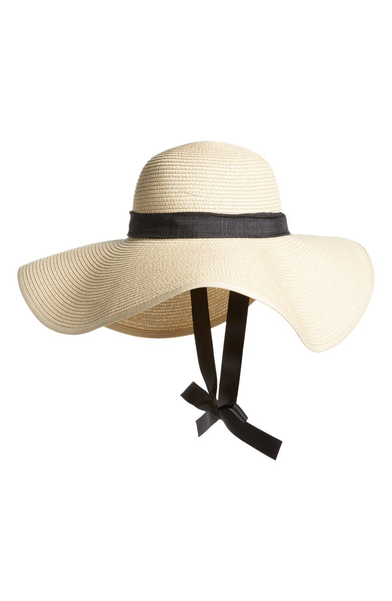 BP. Tie Neck Ribbon Floppy Straw Hat  658532f49a0