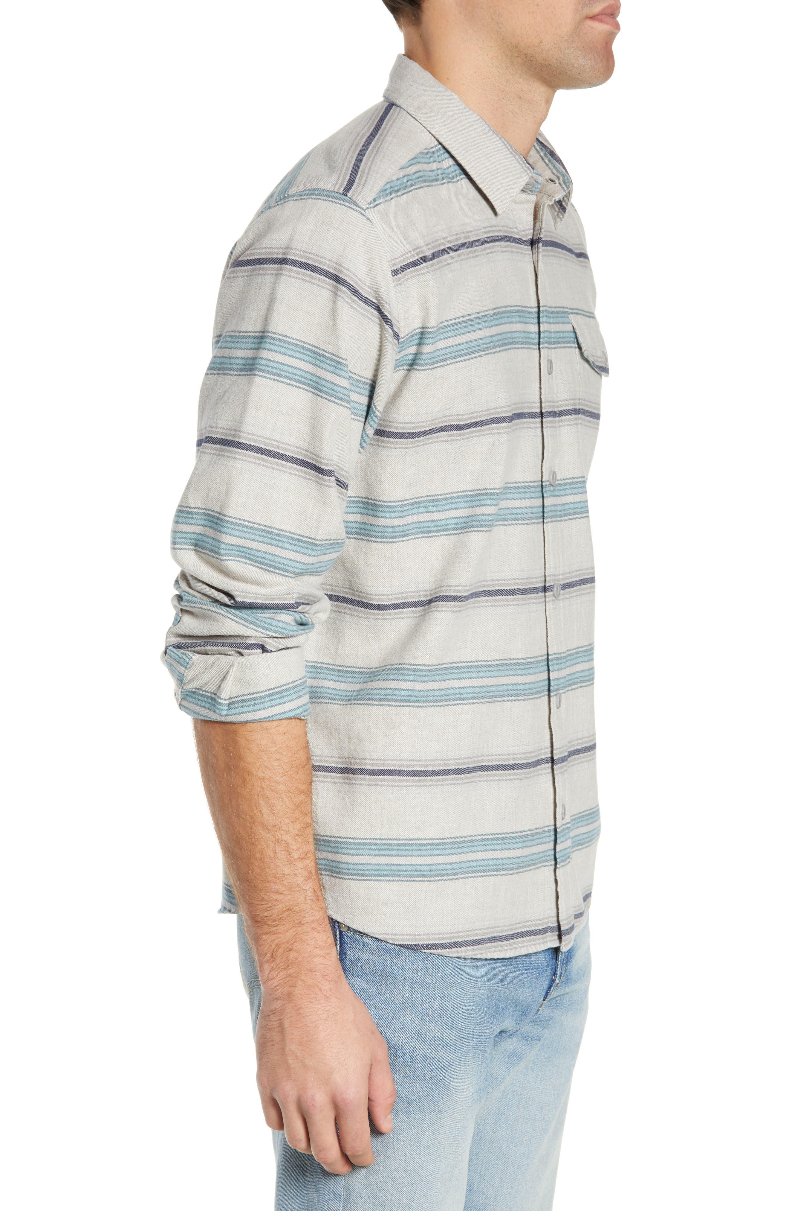 PATAGONIA,                             Regular Fit Organic Cotton Flannel Shirt,                             Alternate thumbnail 4, color,                             TARKINE STRIPE DRIFTER GREY