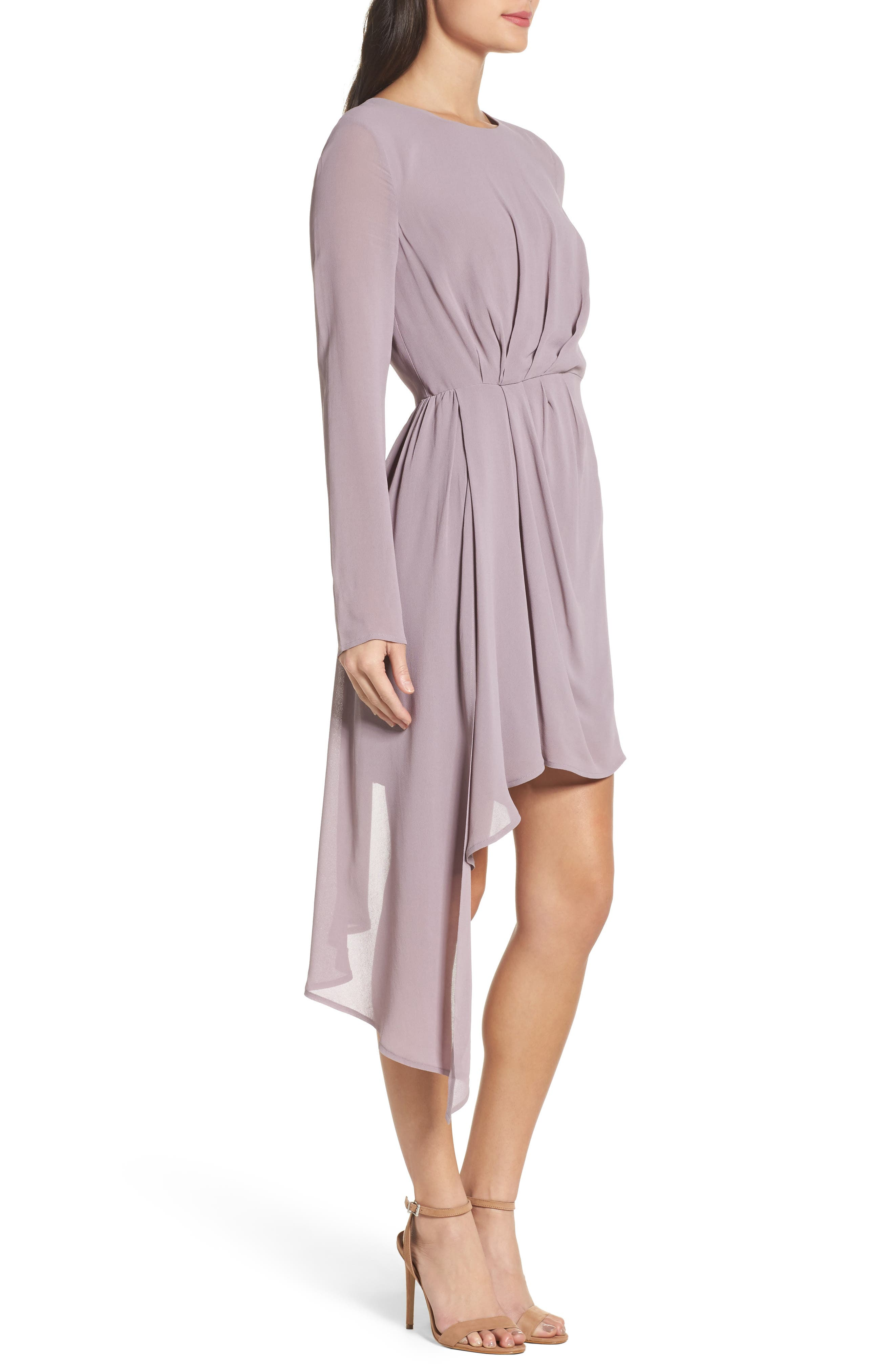 Stilla Asymmetric Drape Dress,                             Alternate thumbnail 3, color,                             535