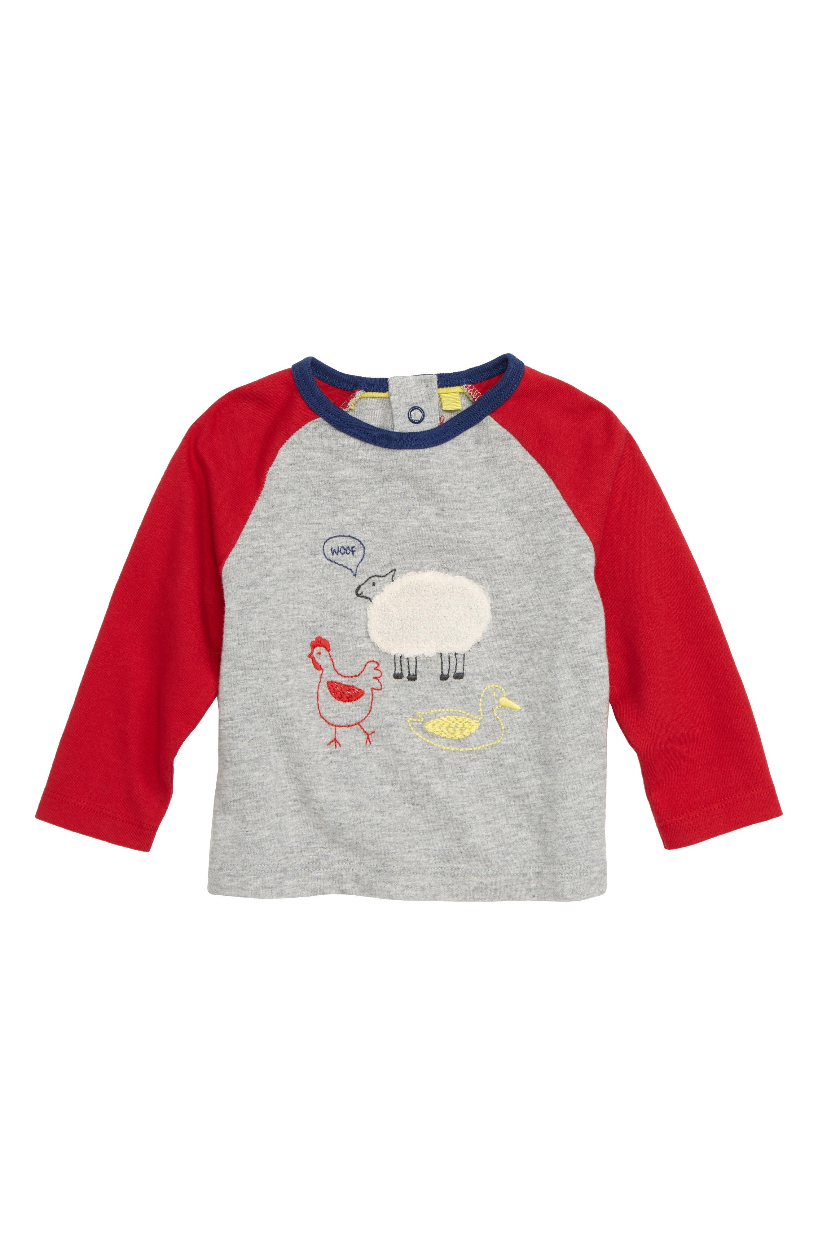 Infant Boys Mini Boden Farmyard Sketch TShirt Size 03M  Grey