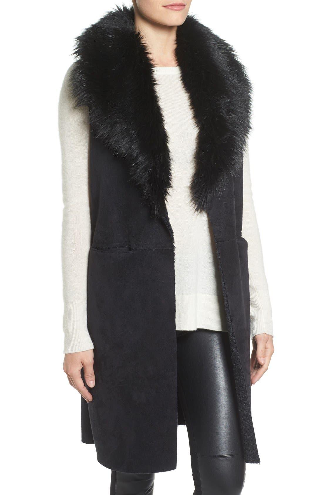 Faux Fur Collar Vest,                             Alternate thumbnail 4, color,                             002