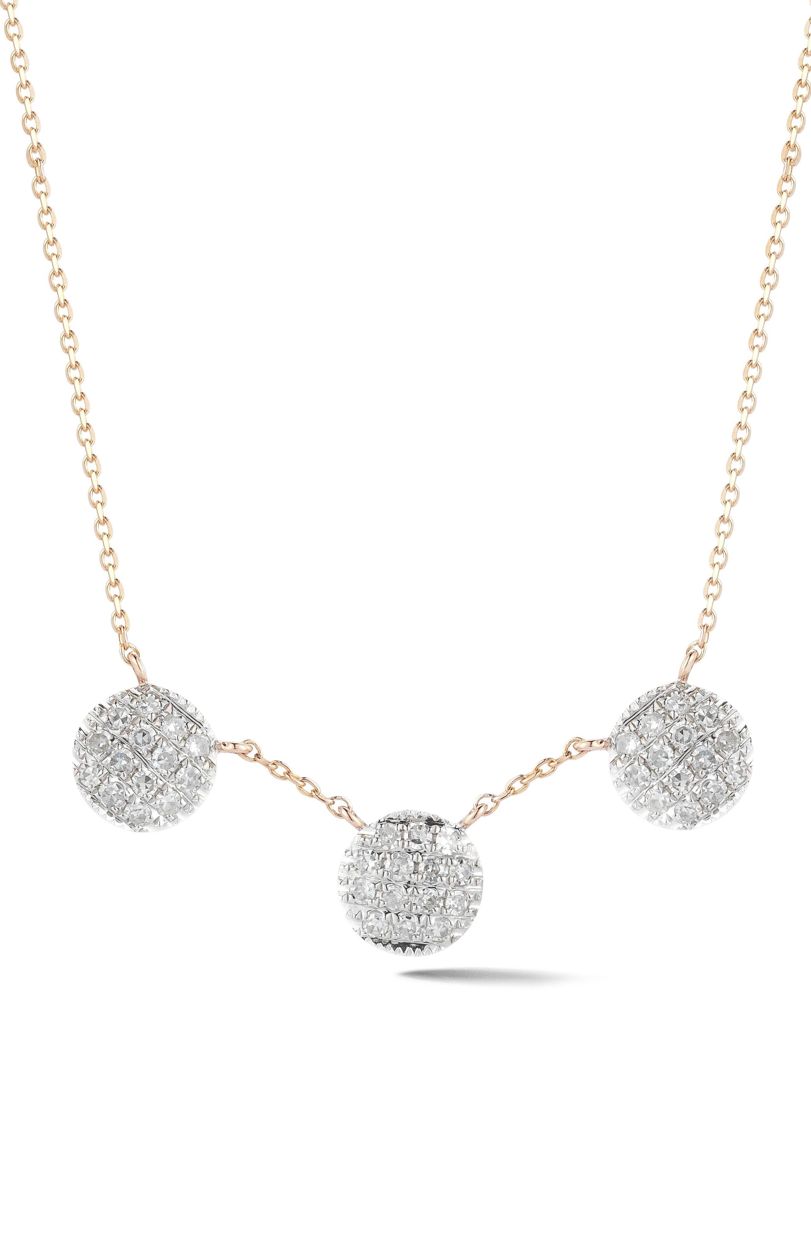 Lauren Joy Three-Disc Diamond Necklace,                             Main thumbnail 1, color,                             710