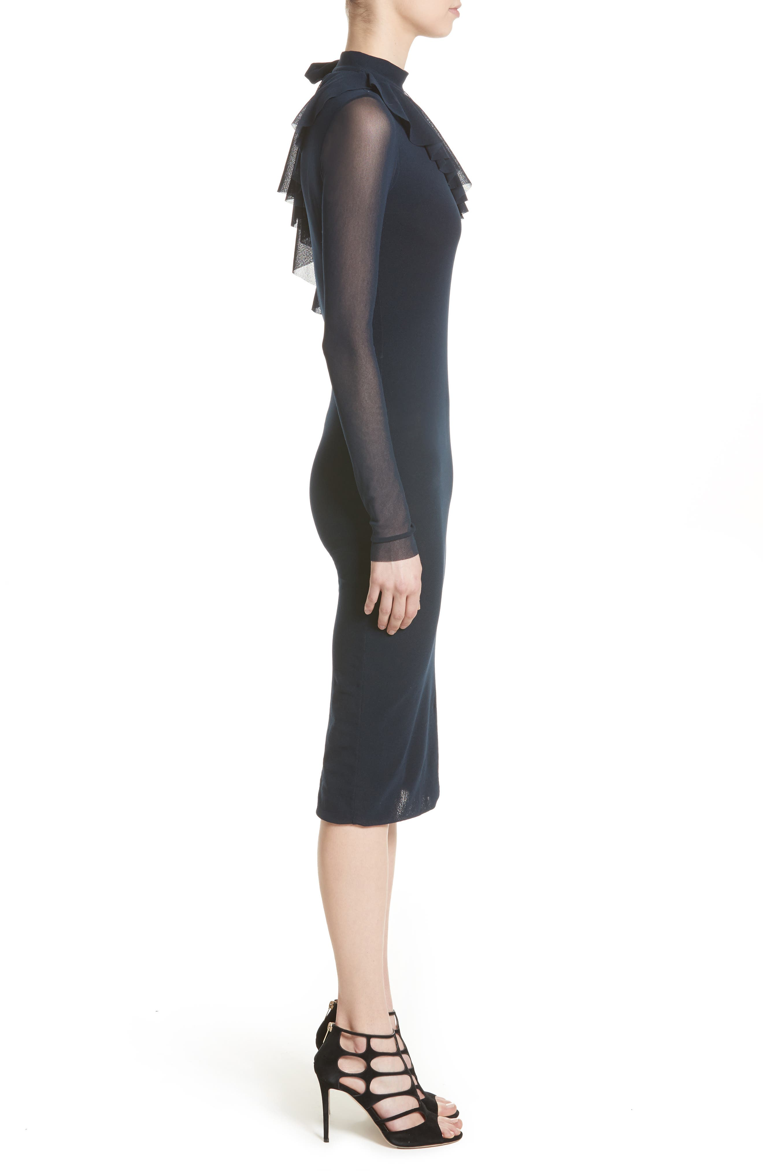Tulle One-Shoulder Midi Dress,                             Alternate thumbnail 3, color,                             410