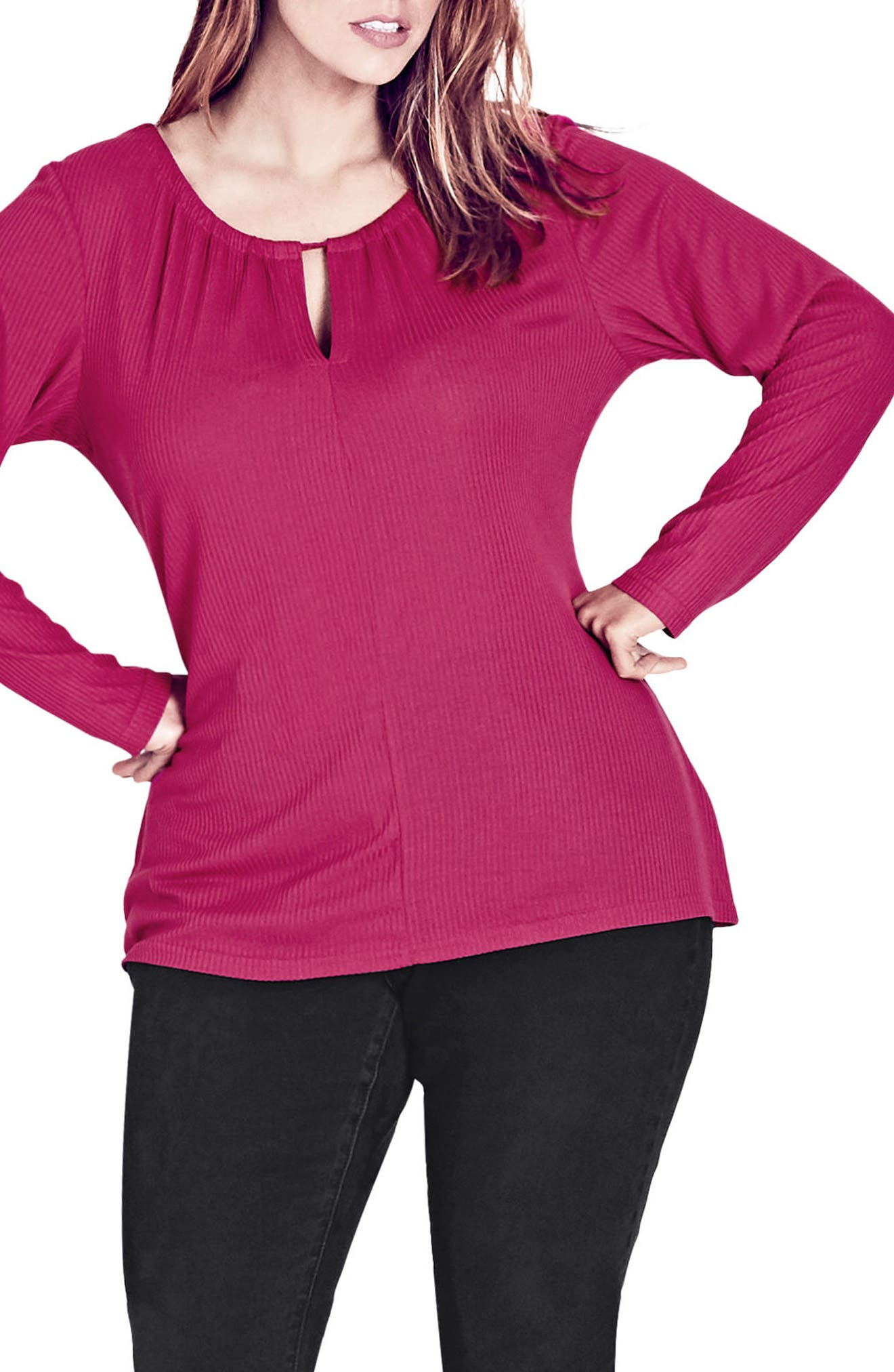 Pretty Peekaboo Top,                         Main,                         color, ULTRA PINK