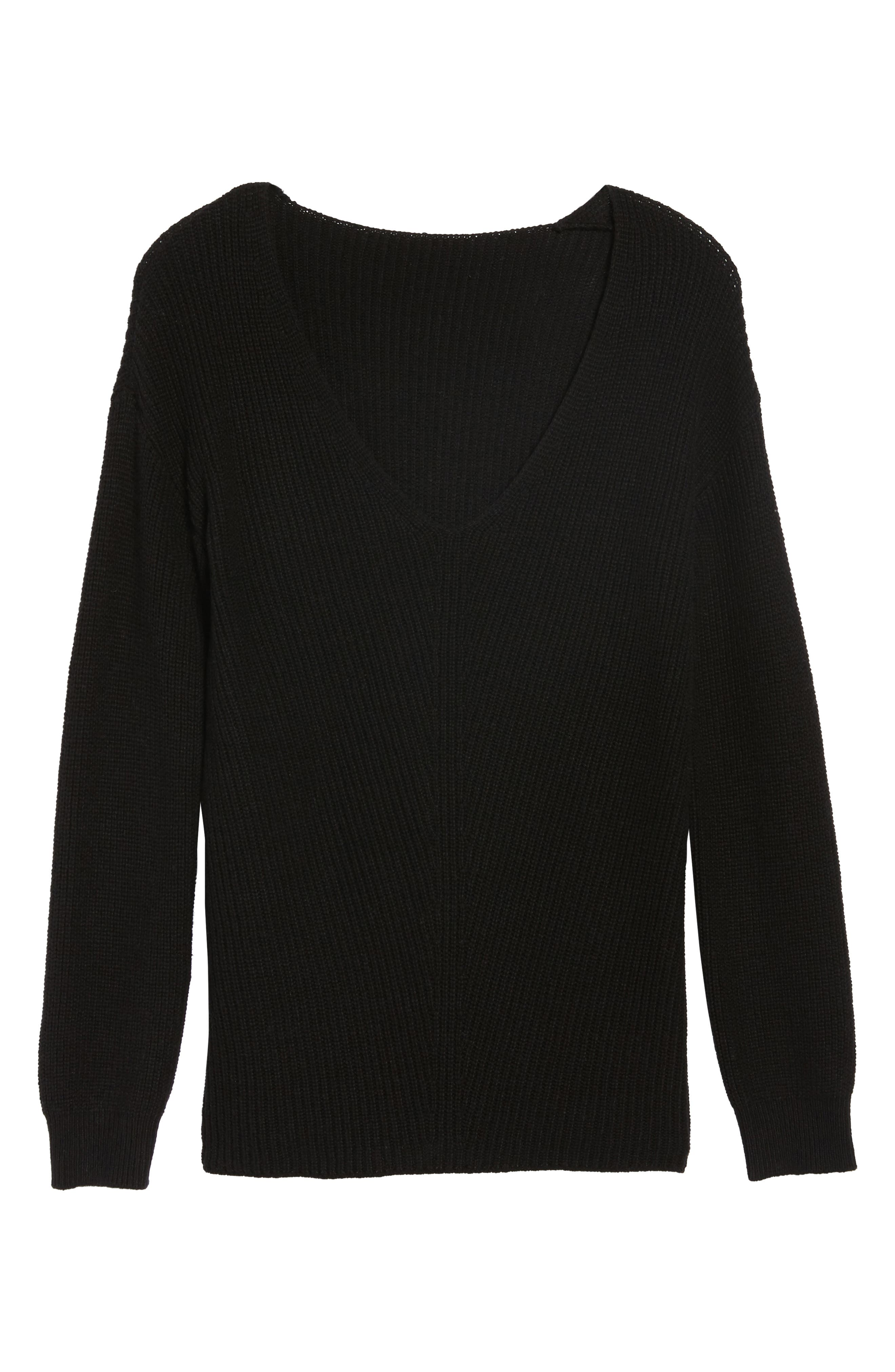 V-Neck Sweater,                             Alternate thumbnail 6, color,                             001