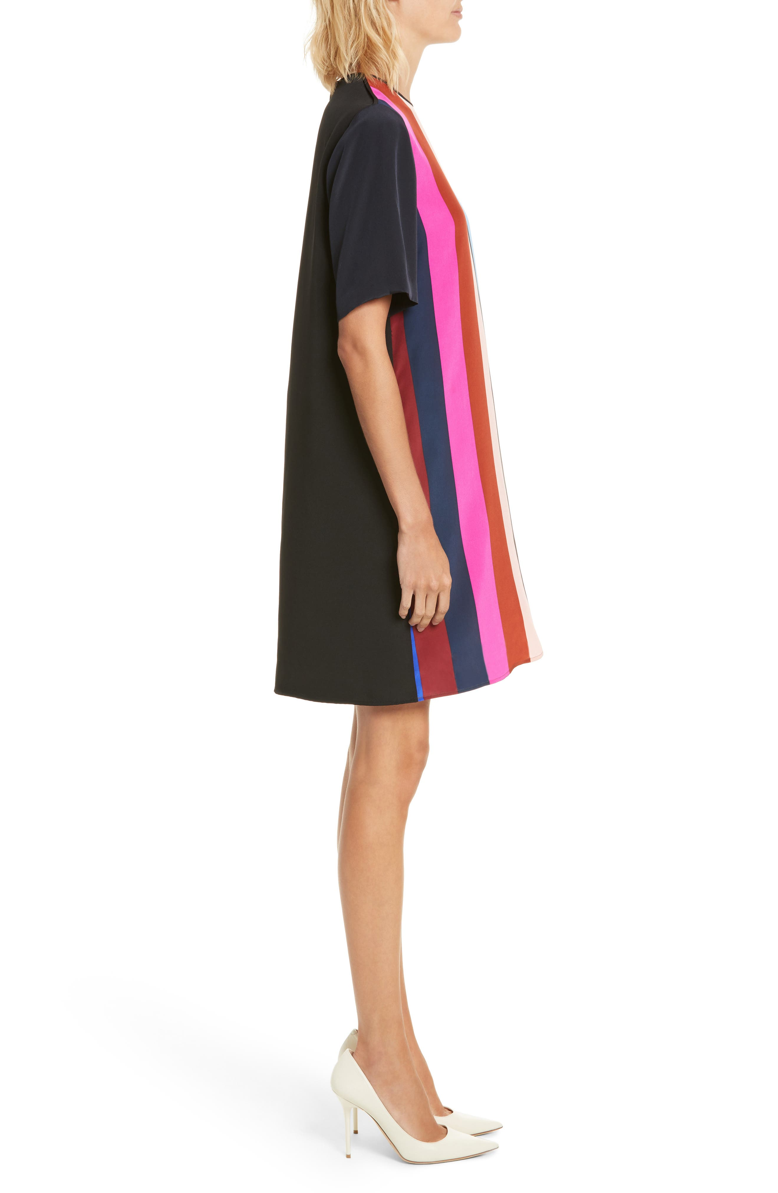 Diane von Furstenberg Stripe Silk Shift Dress,                             Alternate thumbnail 3, color,                             005
