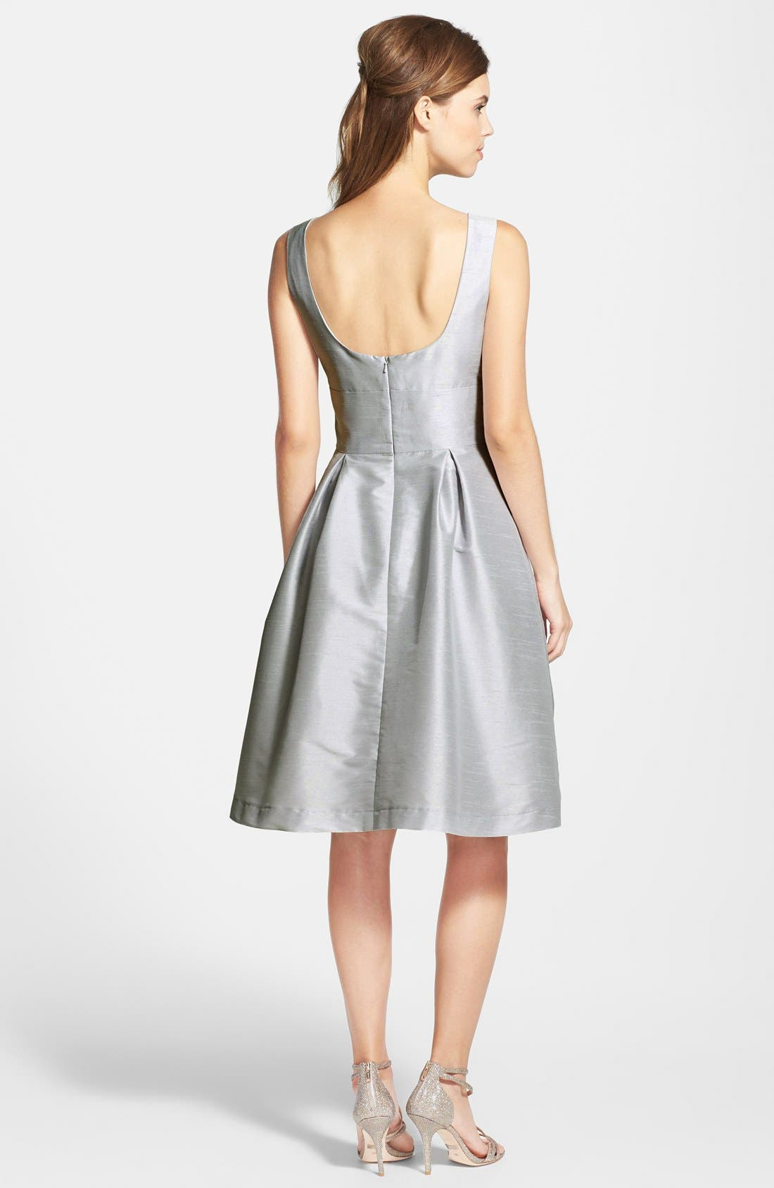 Dupioni Fit & Flare Dress,                             Alternate thumbnail 16, color,