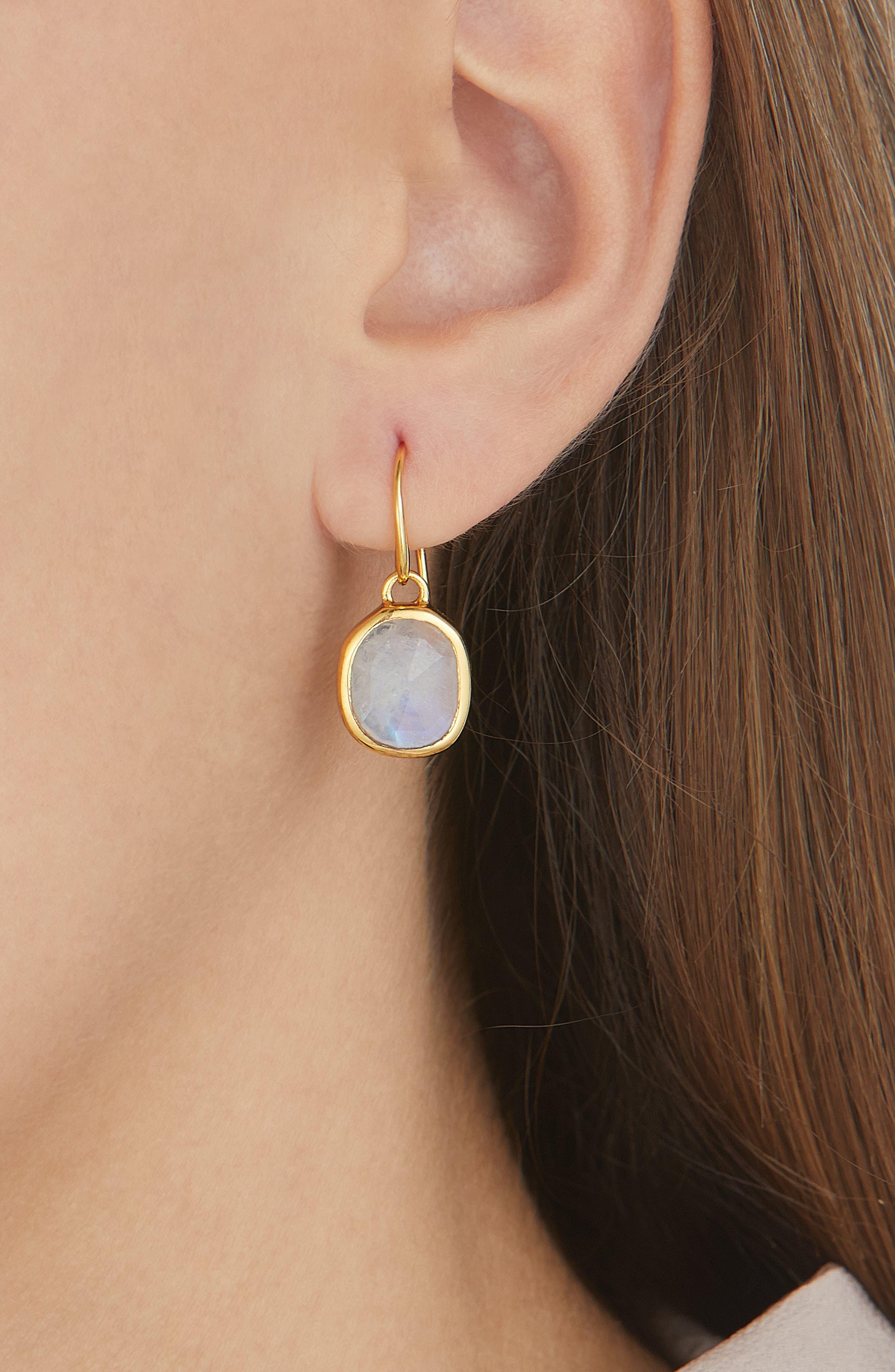 Siren Bezel Set Onyx Earrings,                             Alternate thumbnail 2, color,                             GOLD/ MOONSTONE