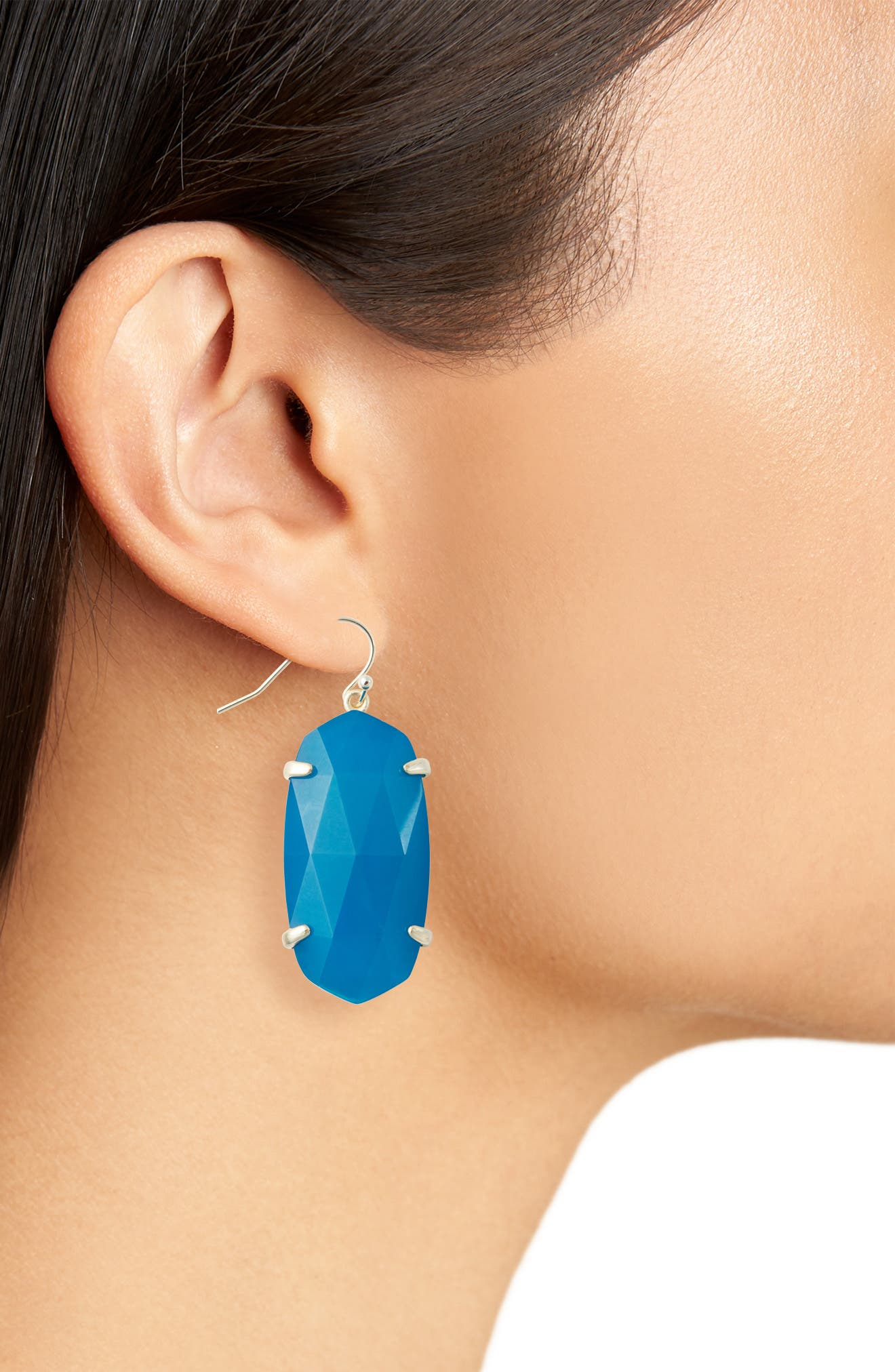 Esme Drop Earrings,                             Alternate thumbnail 2, color,                             TEAL UNBANDED AGATE/ GOLD