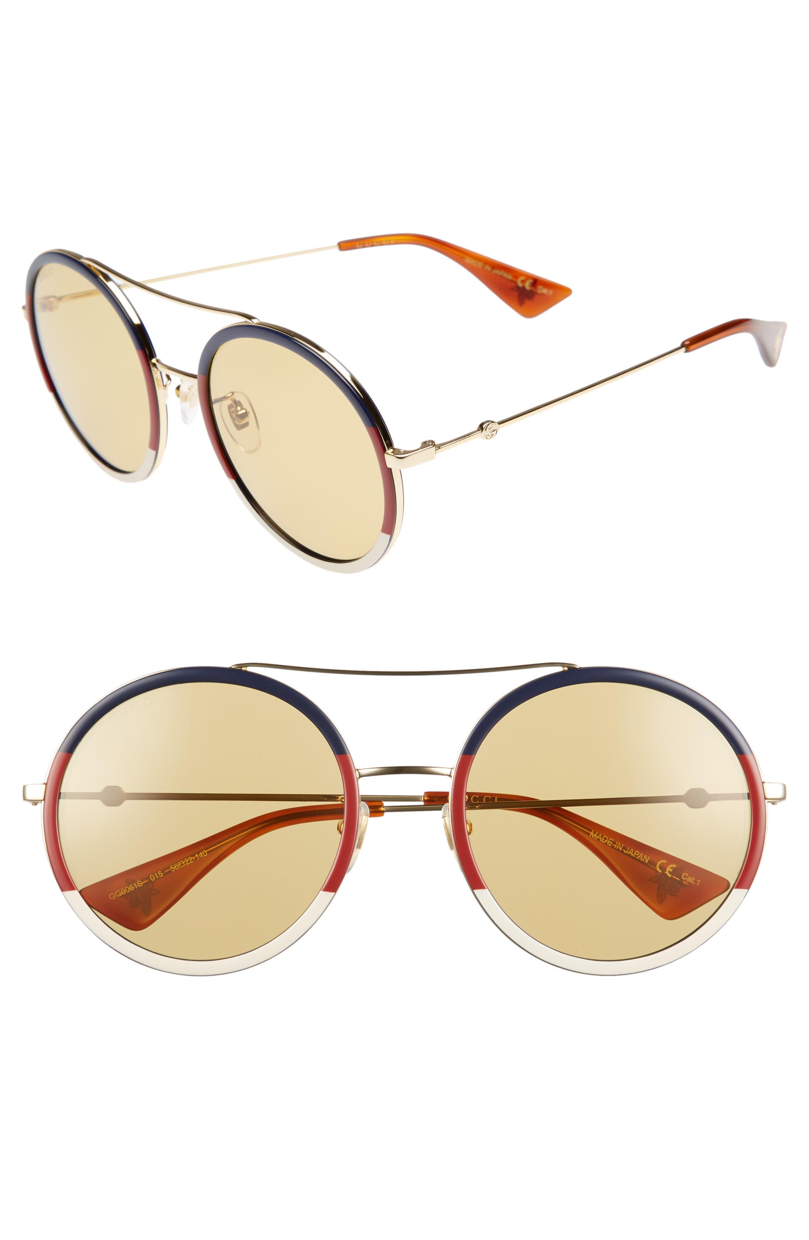 56mm Round Sunglasses,                         Main,                         color, GOLD/ BLONDE HAVANA