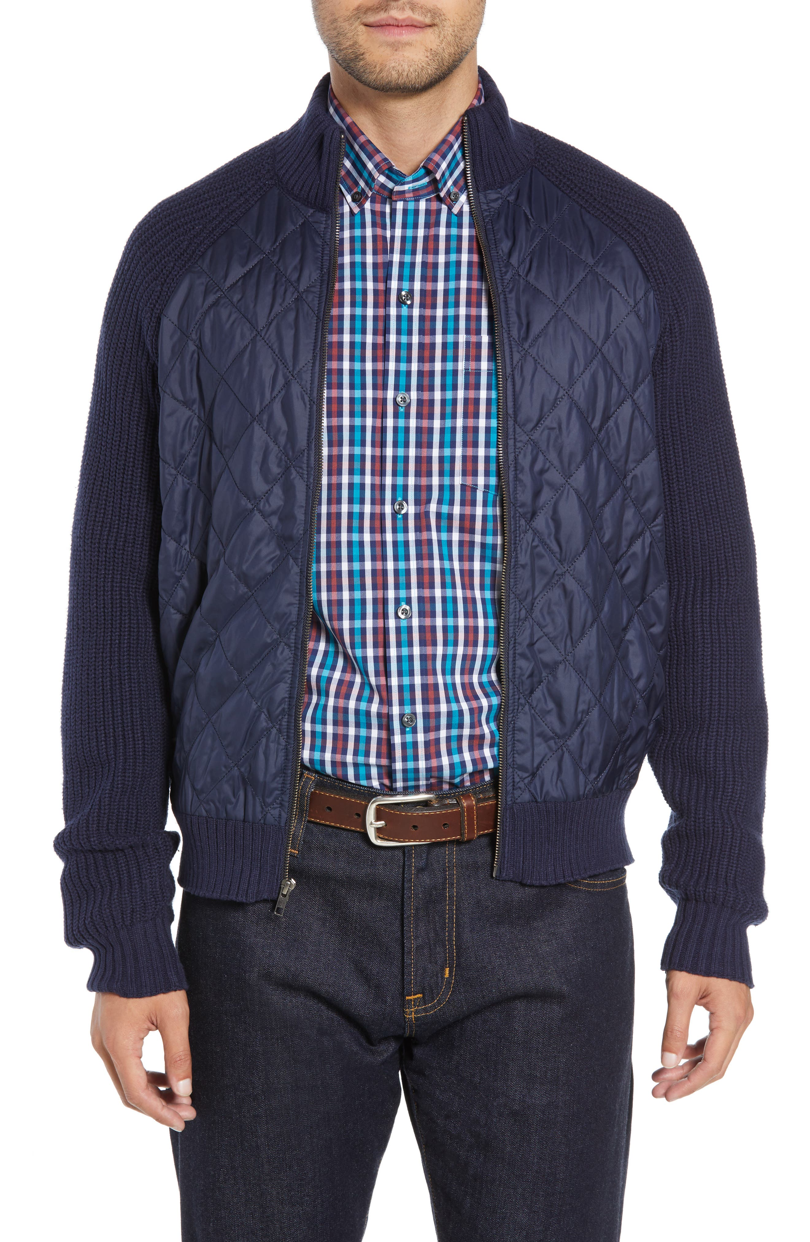 Quilted Zip Sweater,                         Main,                         color, LIBERTY NAVY