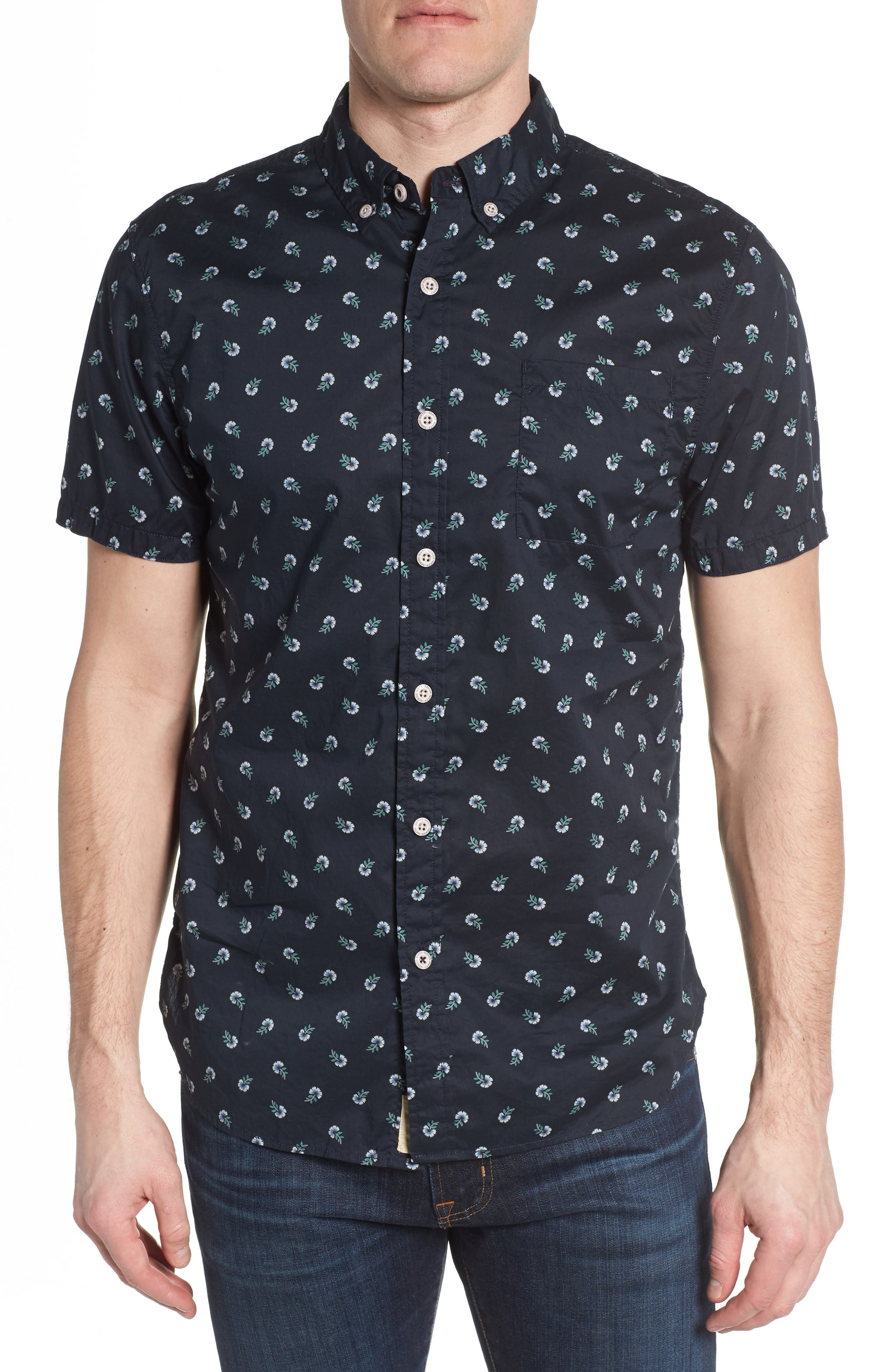 Truman Slim Fit Print Sport Shirt,                         Main,                         color, NAVY