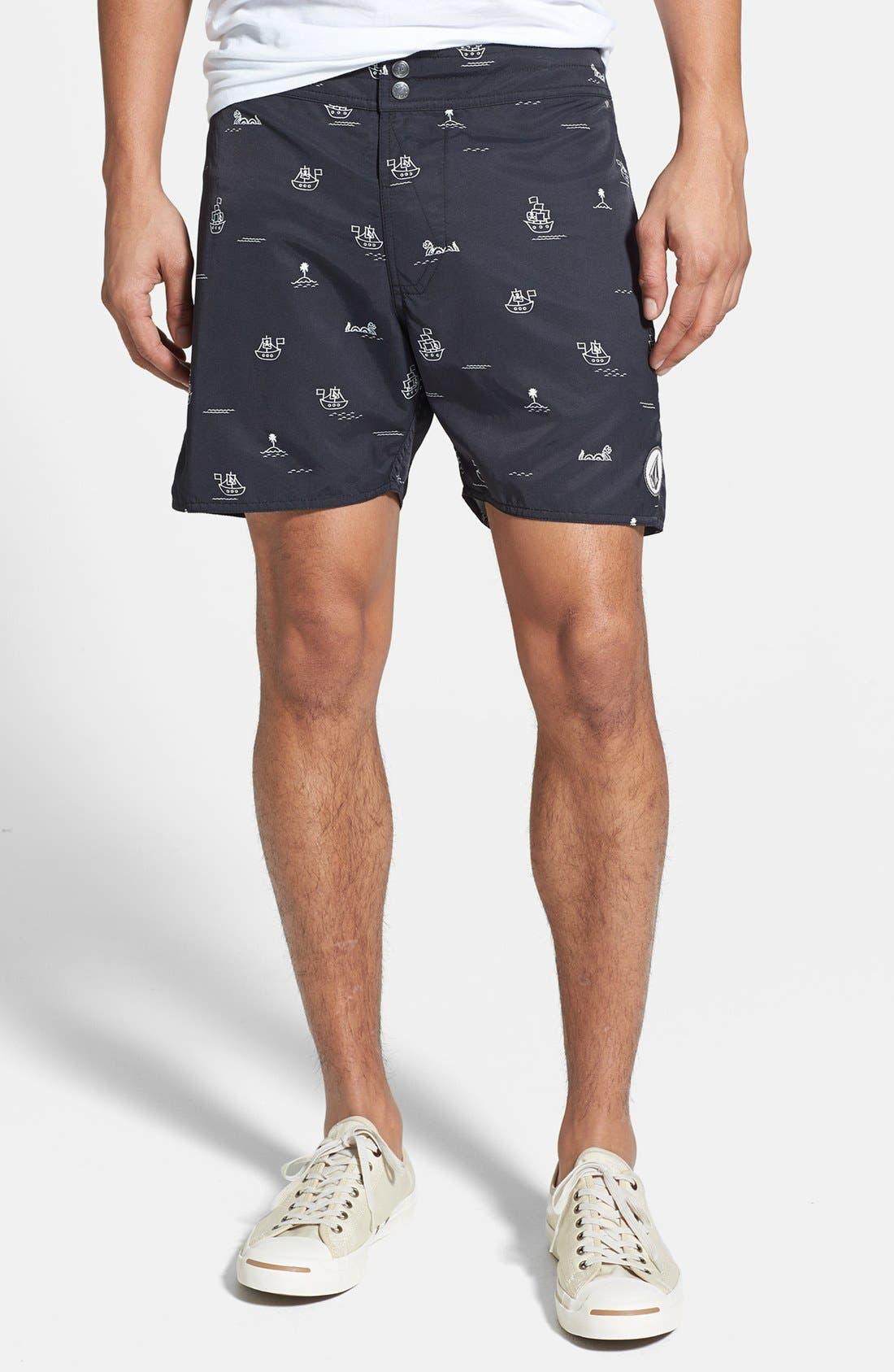 'Vin Vang' Print Swim Shorts,                         Main,                         color, 001