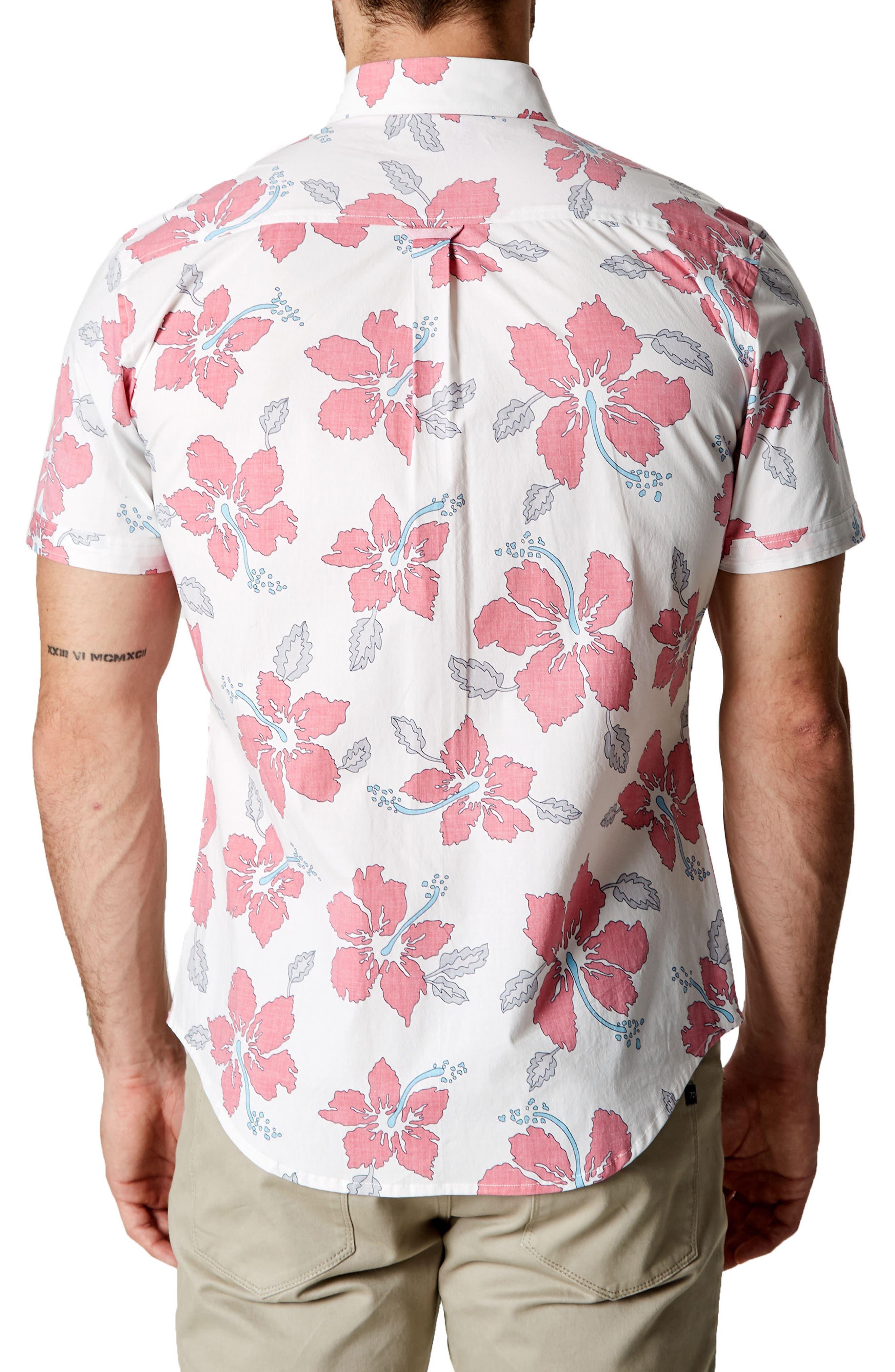 Mind Shaft Trim Fit Floral Sport Shirt,                             Alternate thumbnail 3, color,                             600