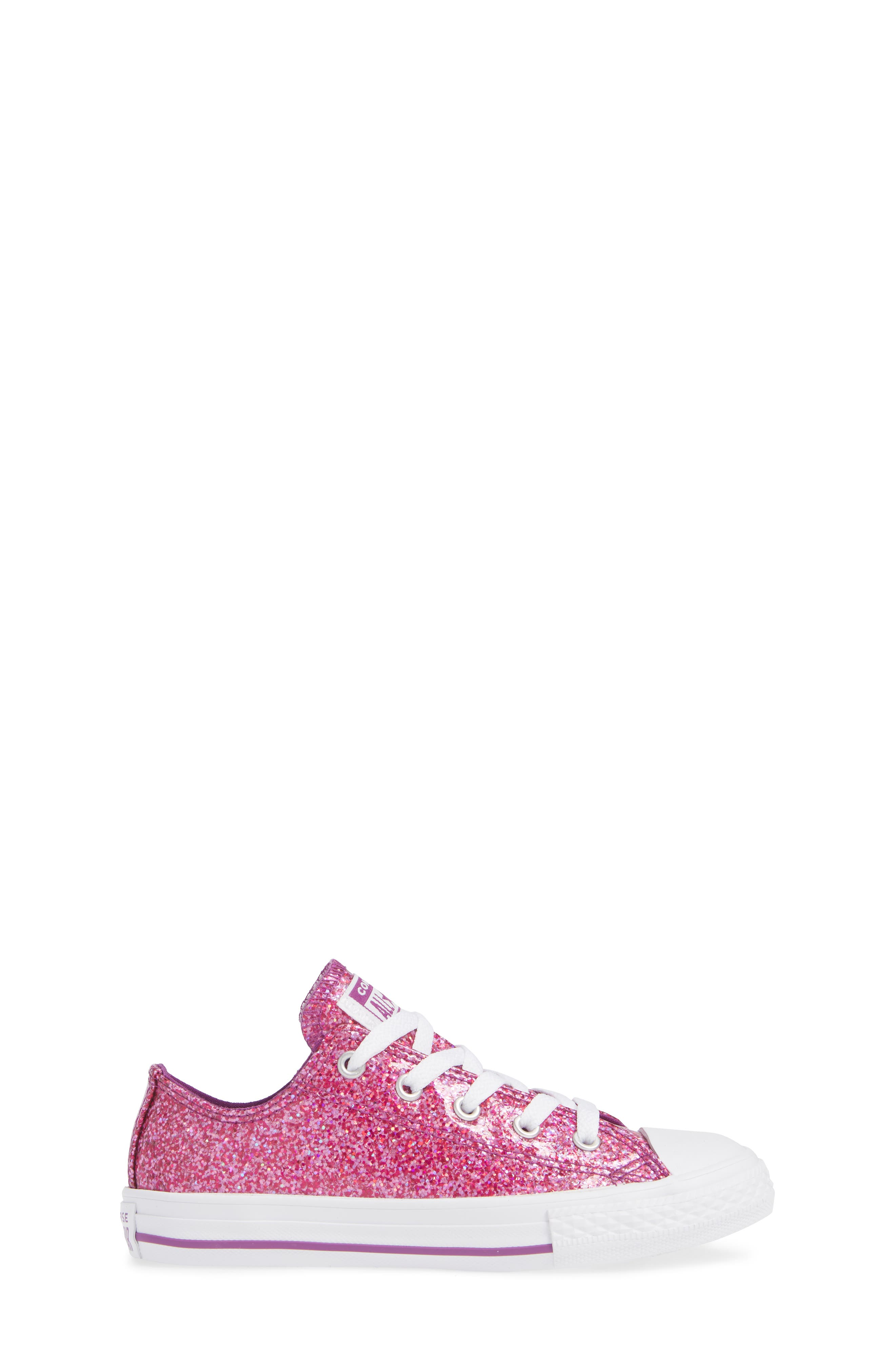 All Star<sup>®</sup> Seasonal Glitter OX Low Top Sneaker,                             Alternate thumbnail 3, color,                             ICON VIOLET