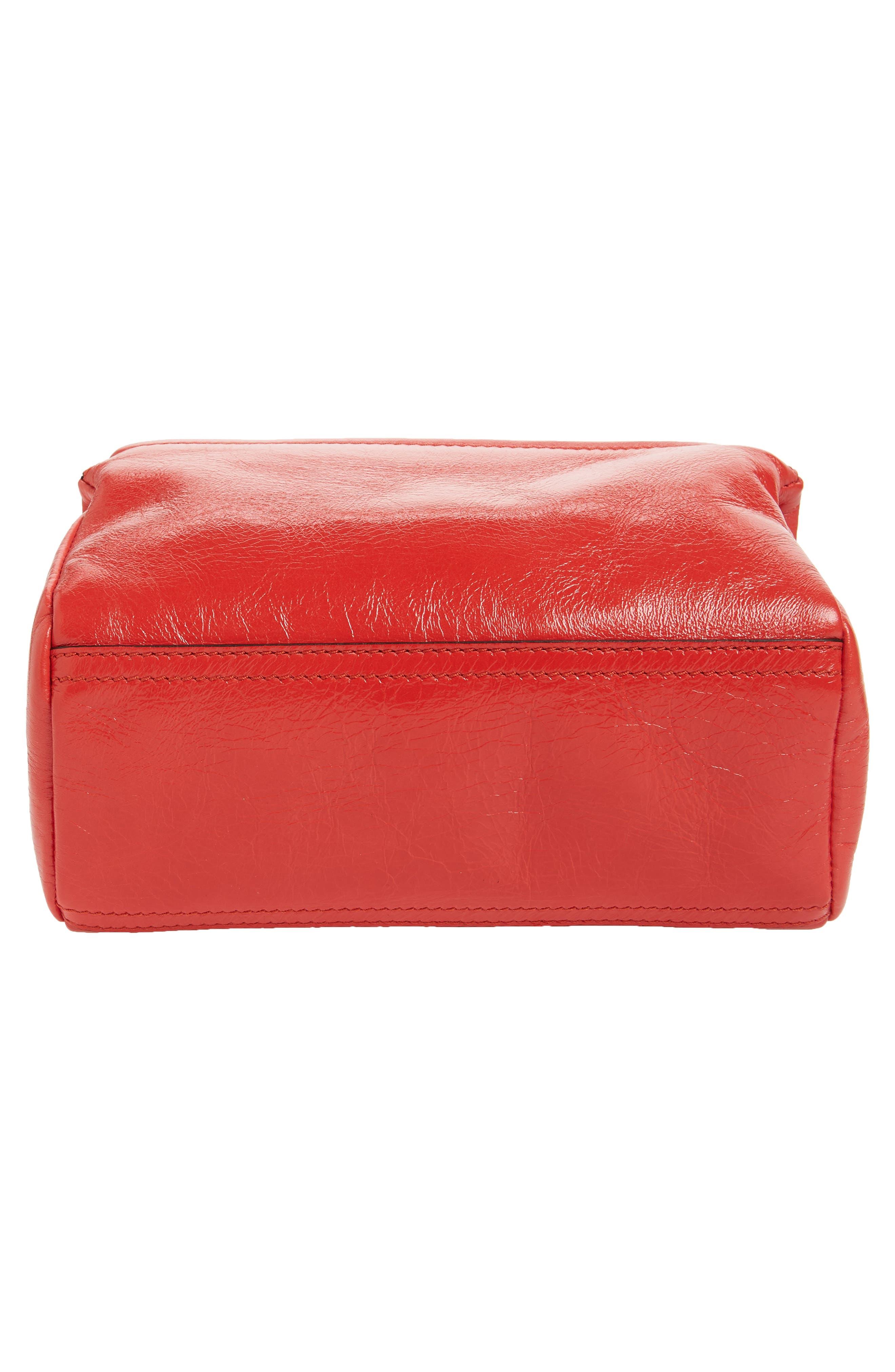 Mini Pandora Glazed Leather Shoulder Bag,                             Alternate thumbnail 6, color,                             POP RED