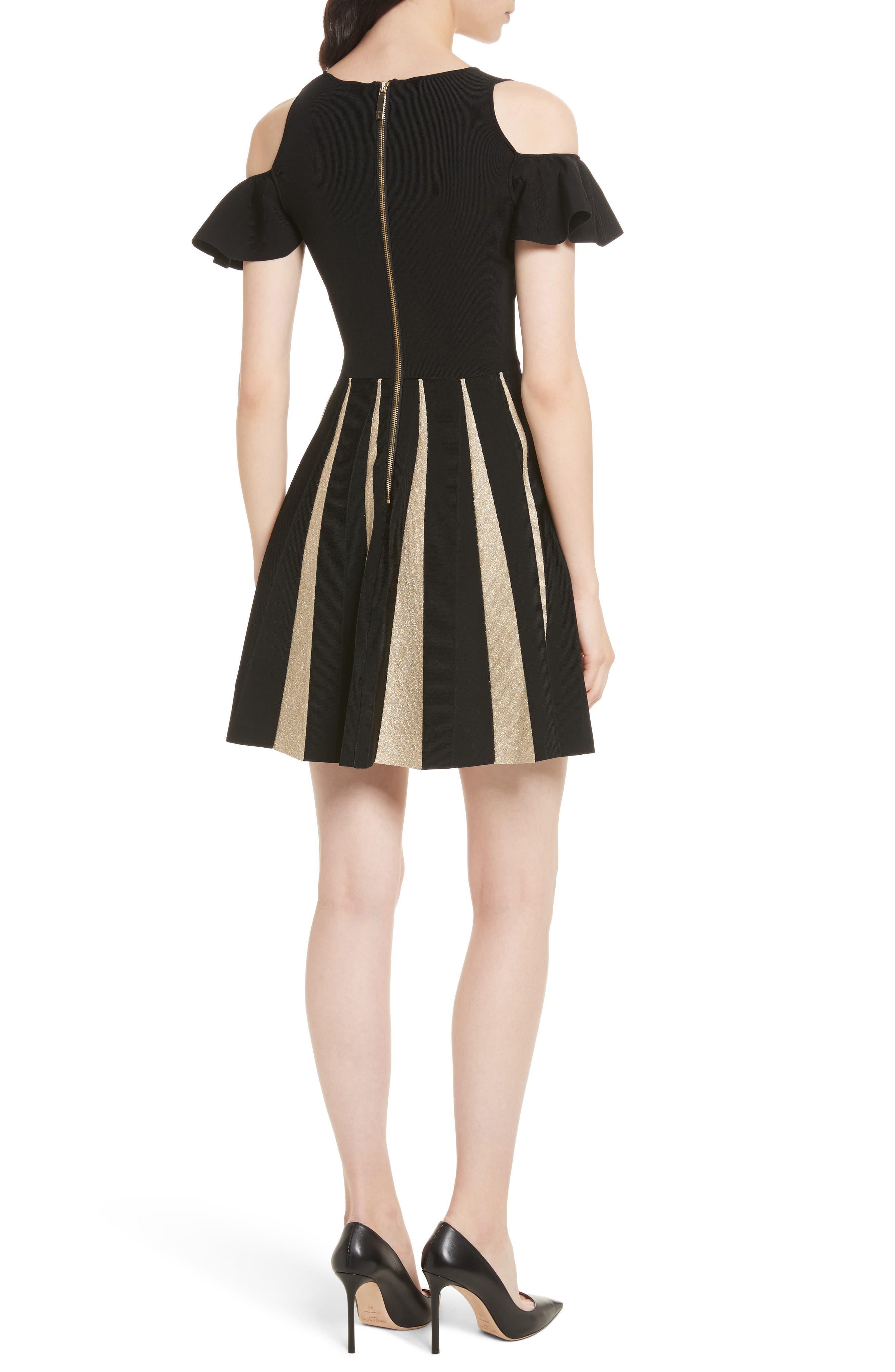 Flippy Cold Shoulder Skater Dress,                             Alternate thumbnail 2, color,