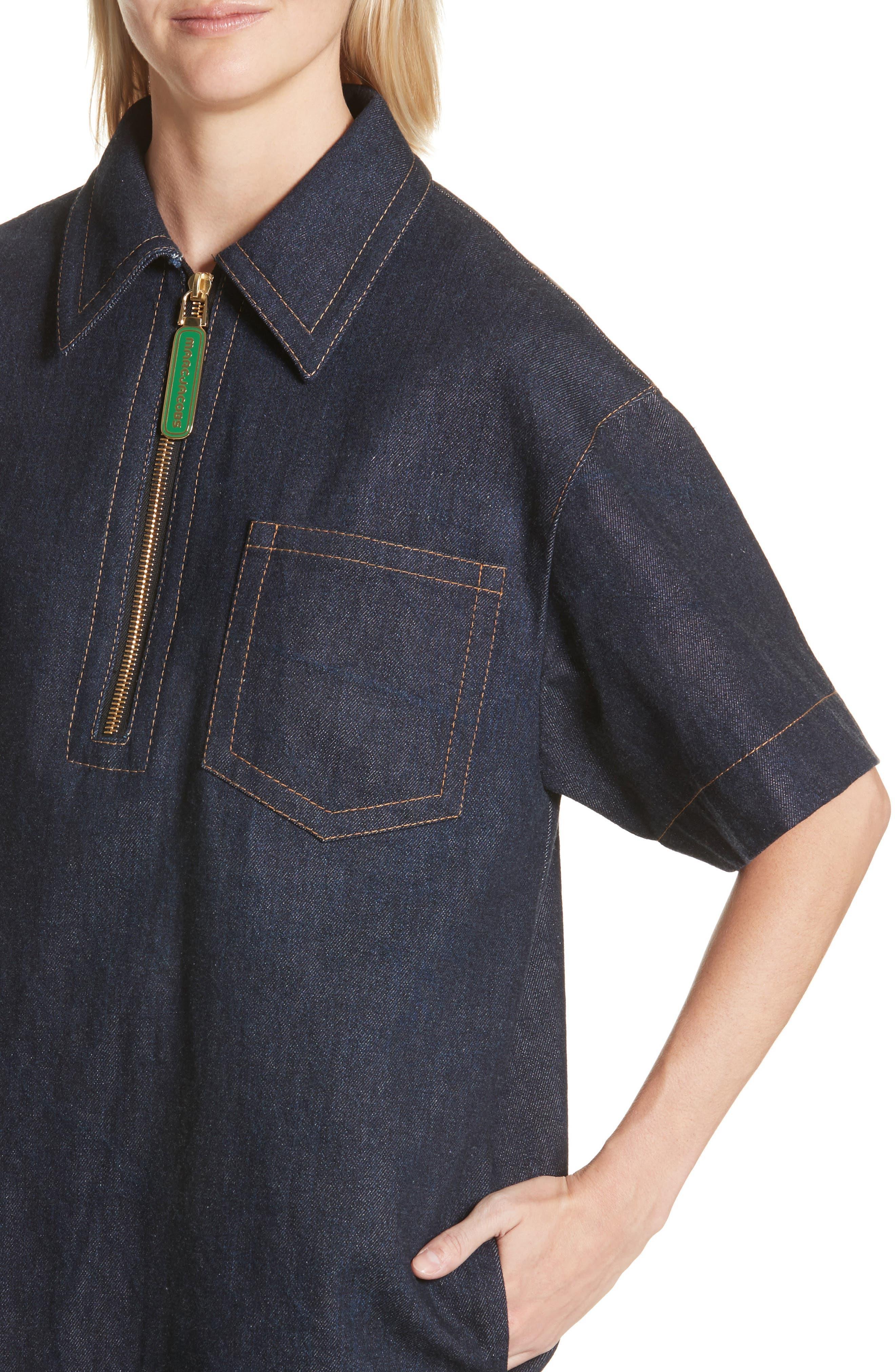 Denim Tunic Dress,                             Alternate thumbnail 4, color,                             421