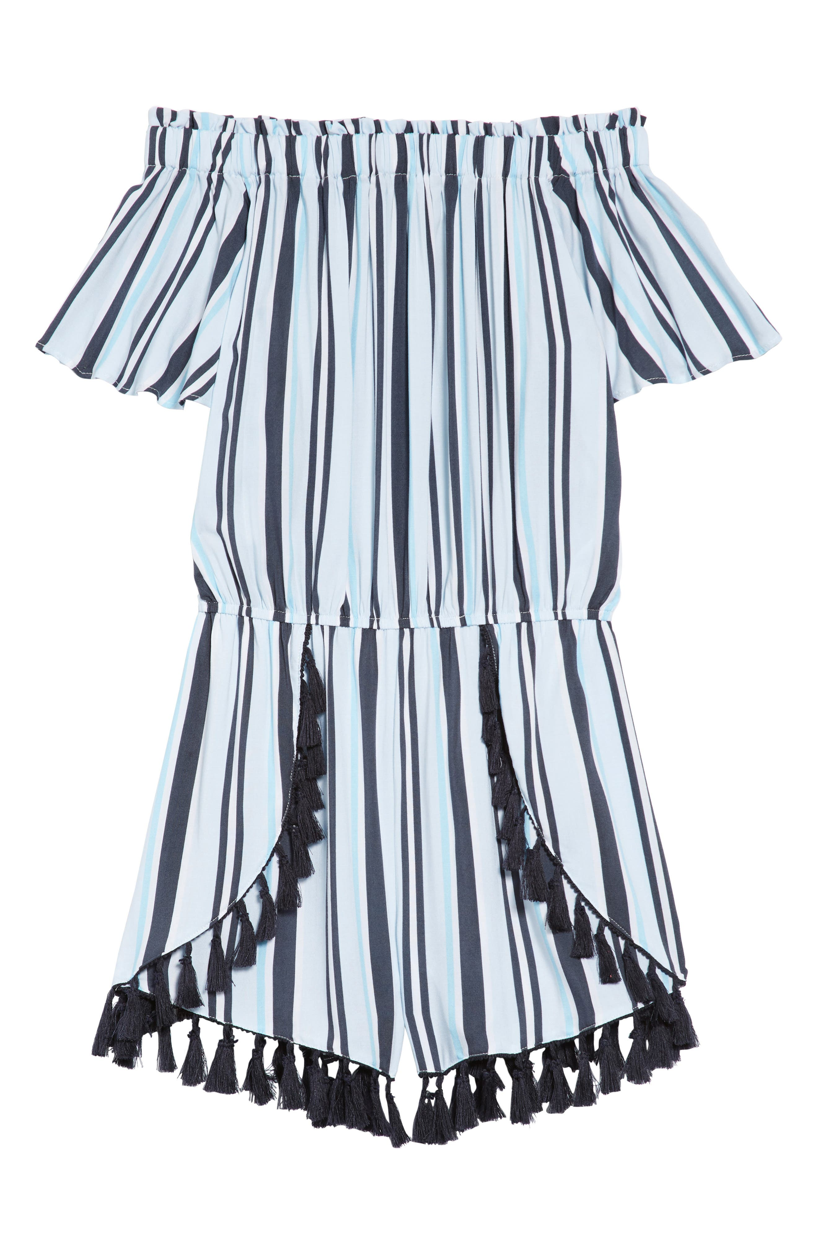 Stripe Fringe Off-the-Shoulder Romper,                             Main thumbnail 1, color,                             400