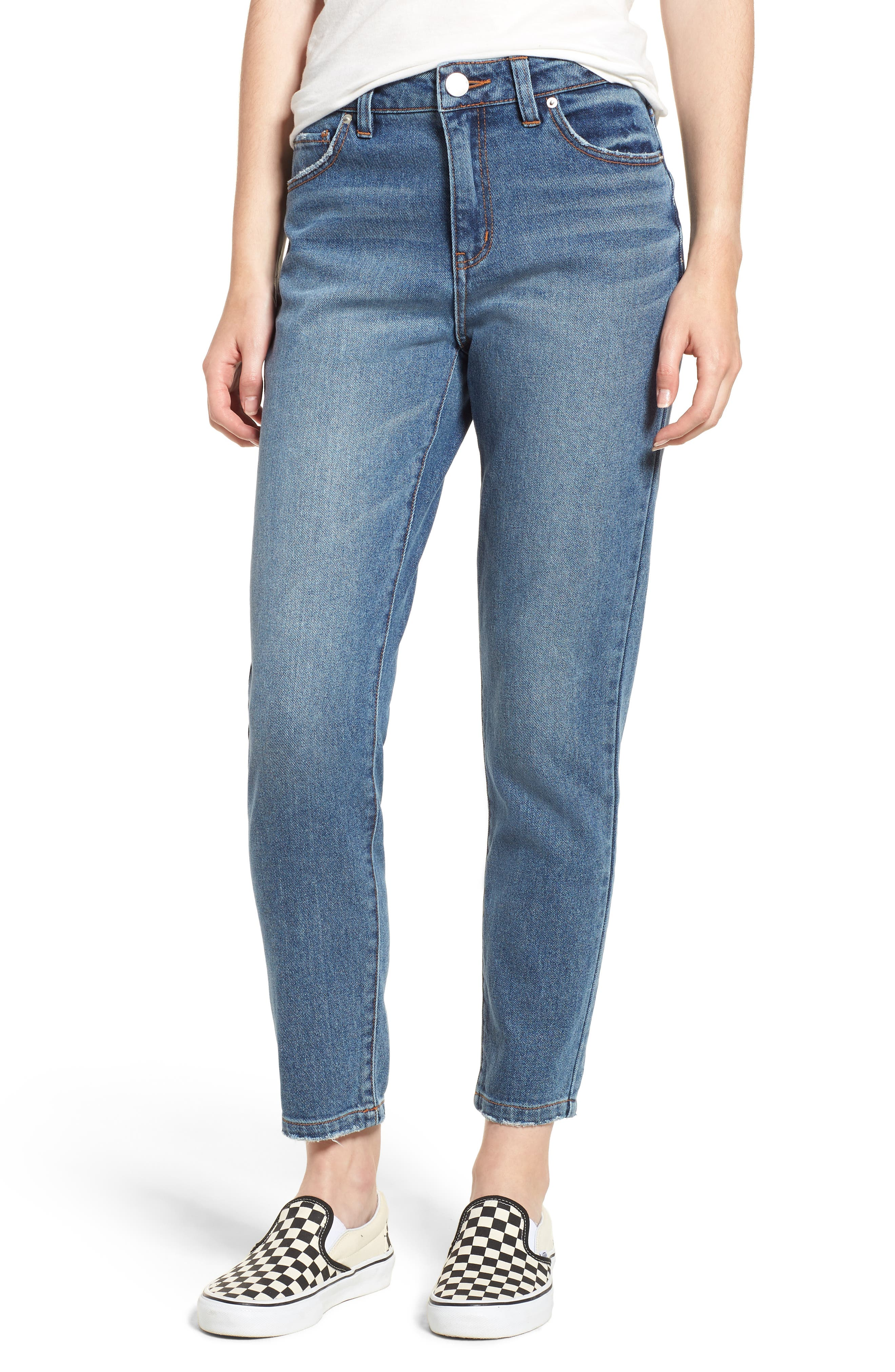 Ankle Straight Leg Jeans,                         Main,                         color, MEDIUM WASH