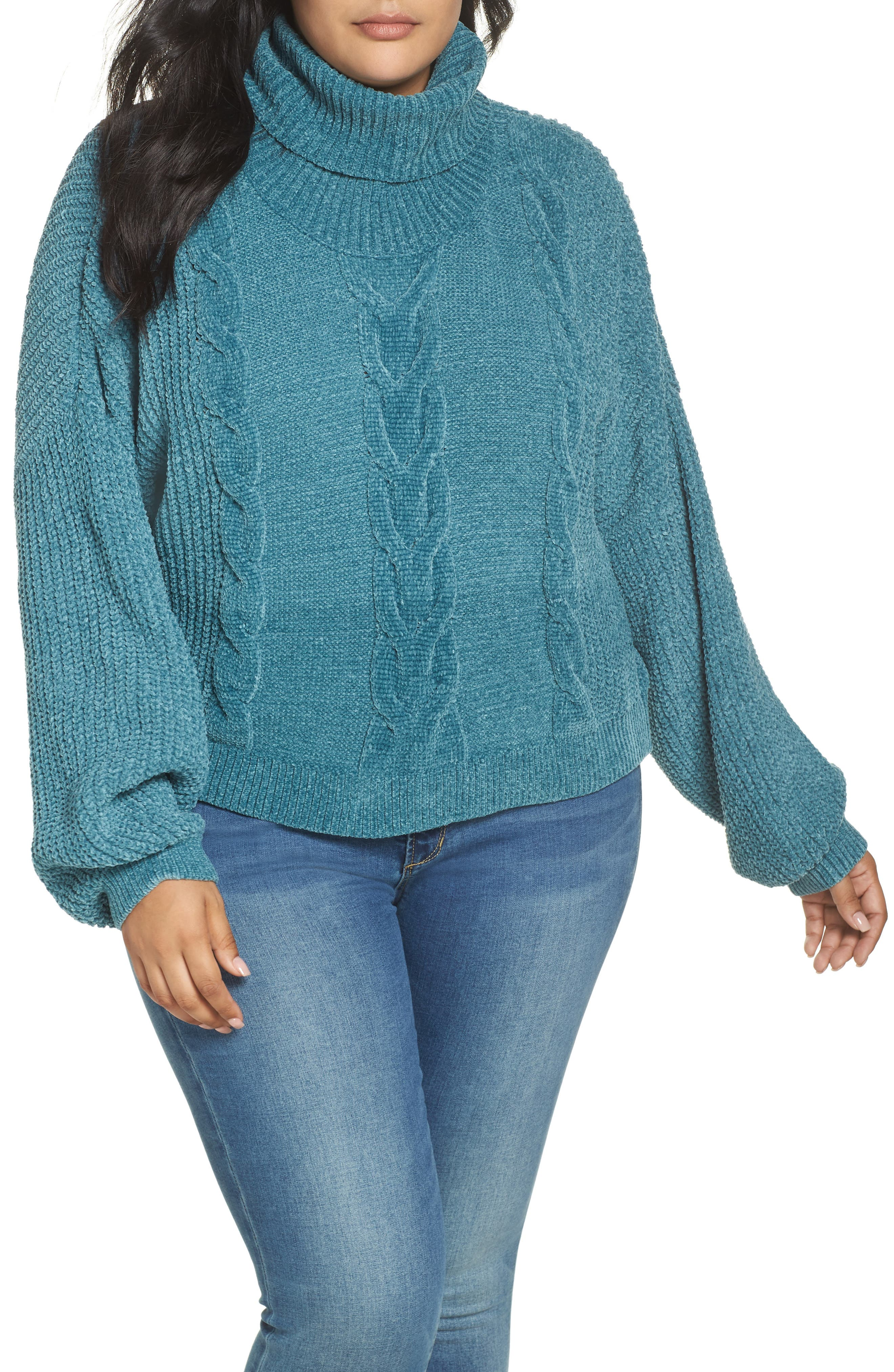 Cable Knit Chenille Sweater,                         Main,                         color, TEAL HYDRO