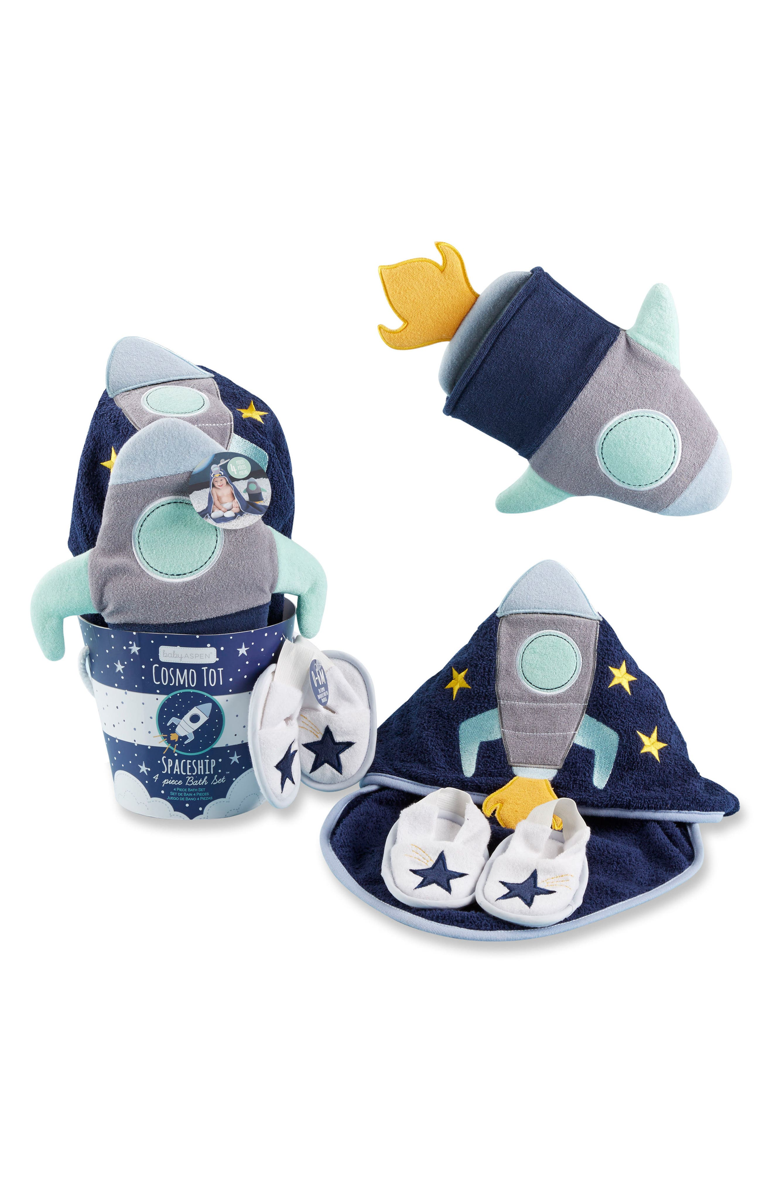 Cosmo Tot 4-Piece Bath Gift Set,                             Main thumbnail 1, color,                             BLUE/ YELLOW/ MINT