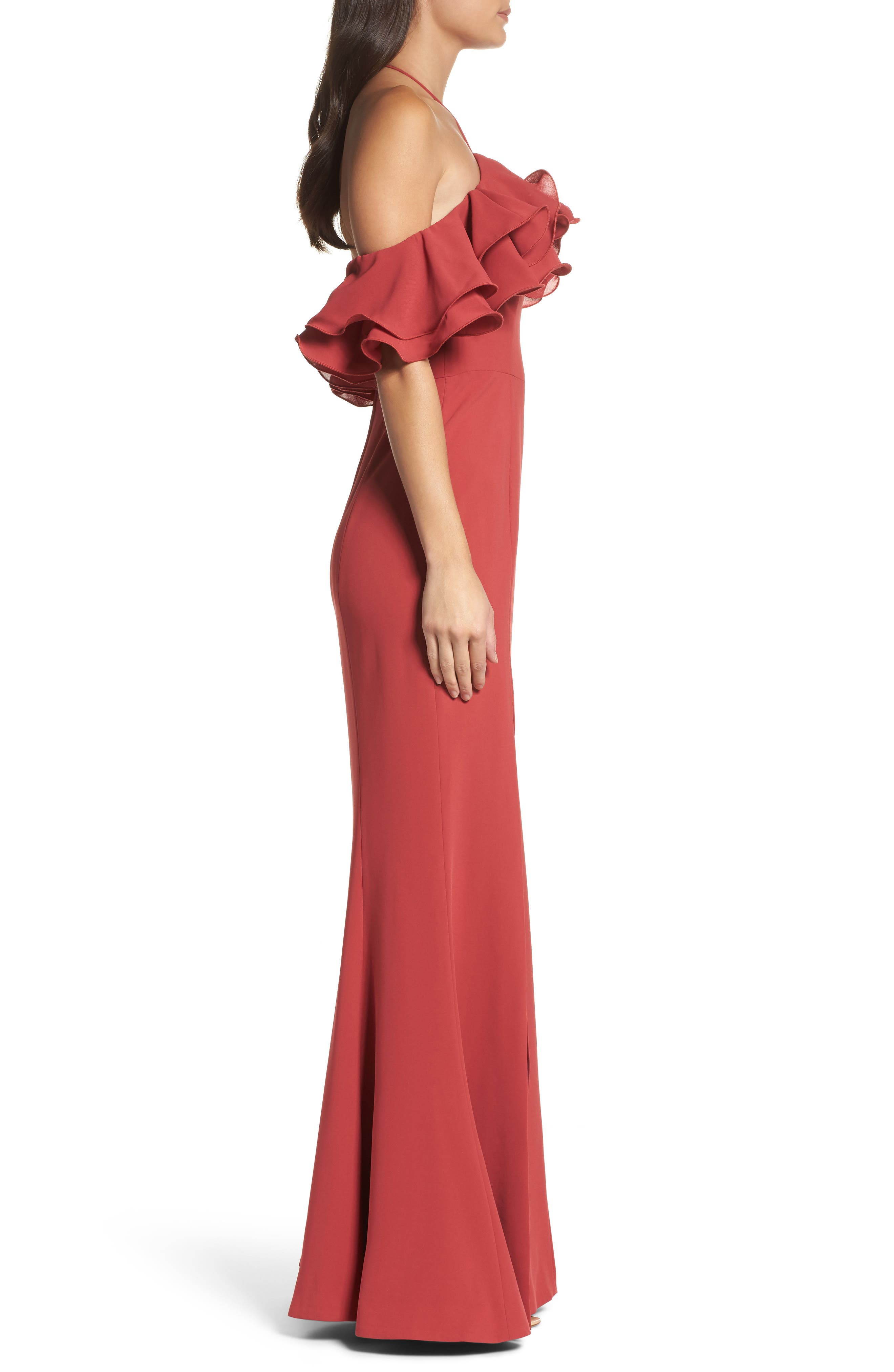 Immerse Ruffle Halter Gown,                             Alternate thumbnail 6, color,