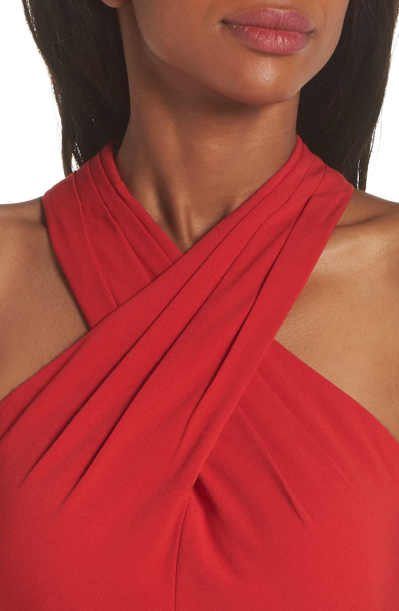 Side Pleat Crossneck Gown,                             Alternate thumbnail 4, color,                             RED
