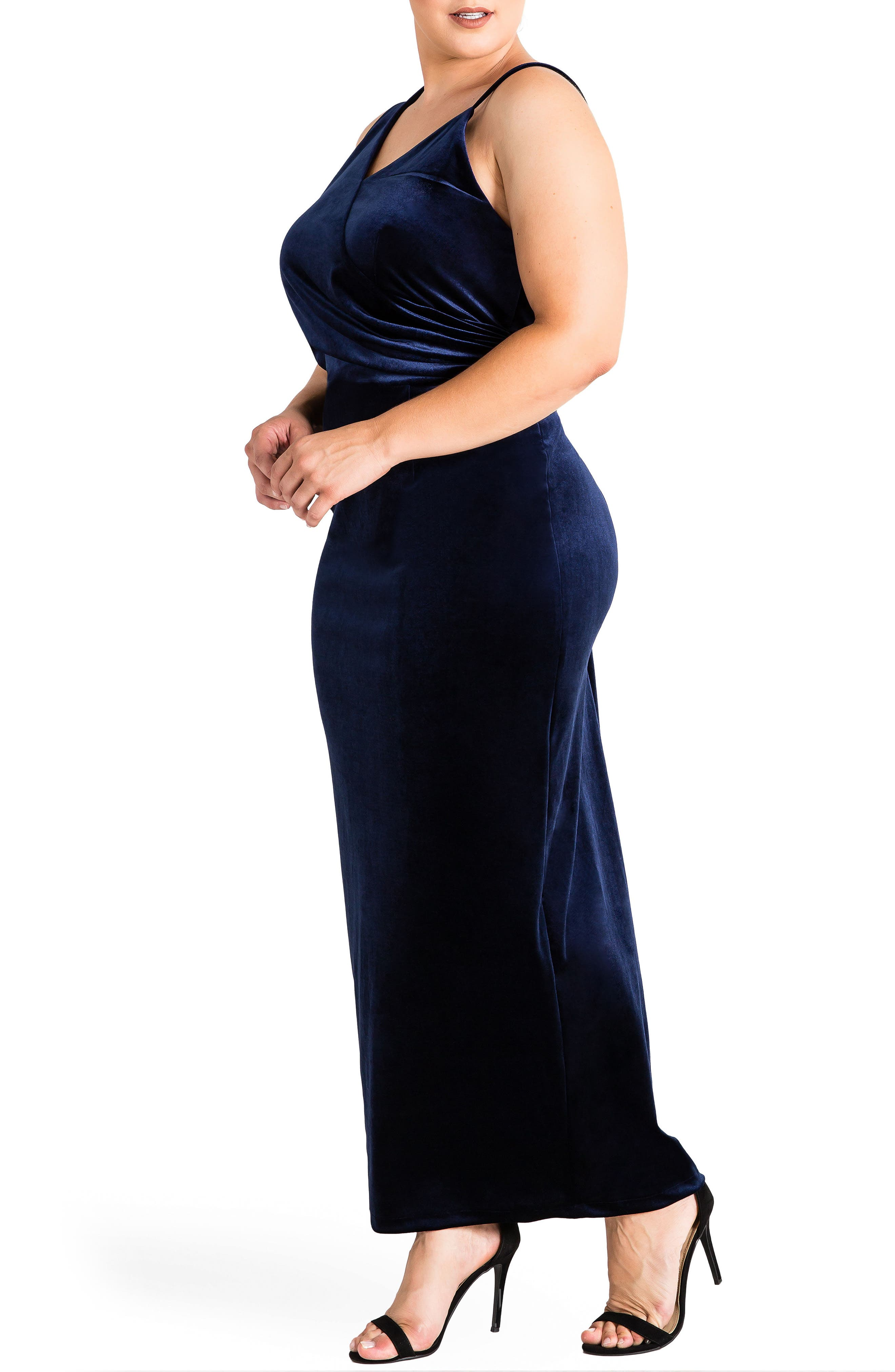 Regan Velvet Sheath Gown,                             Alternate thumbnail 3, color,                             410