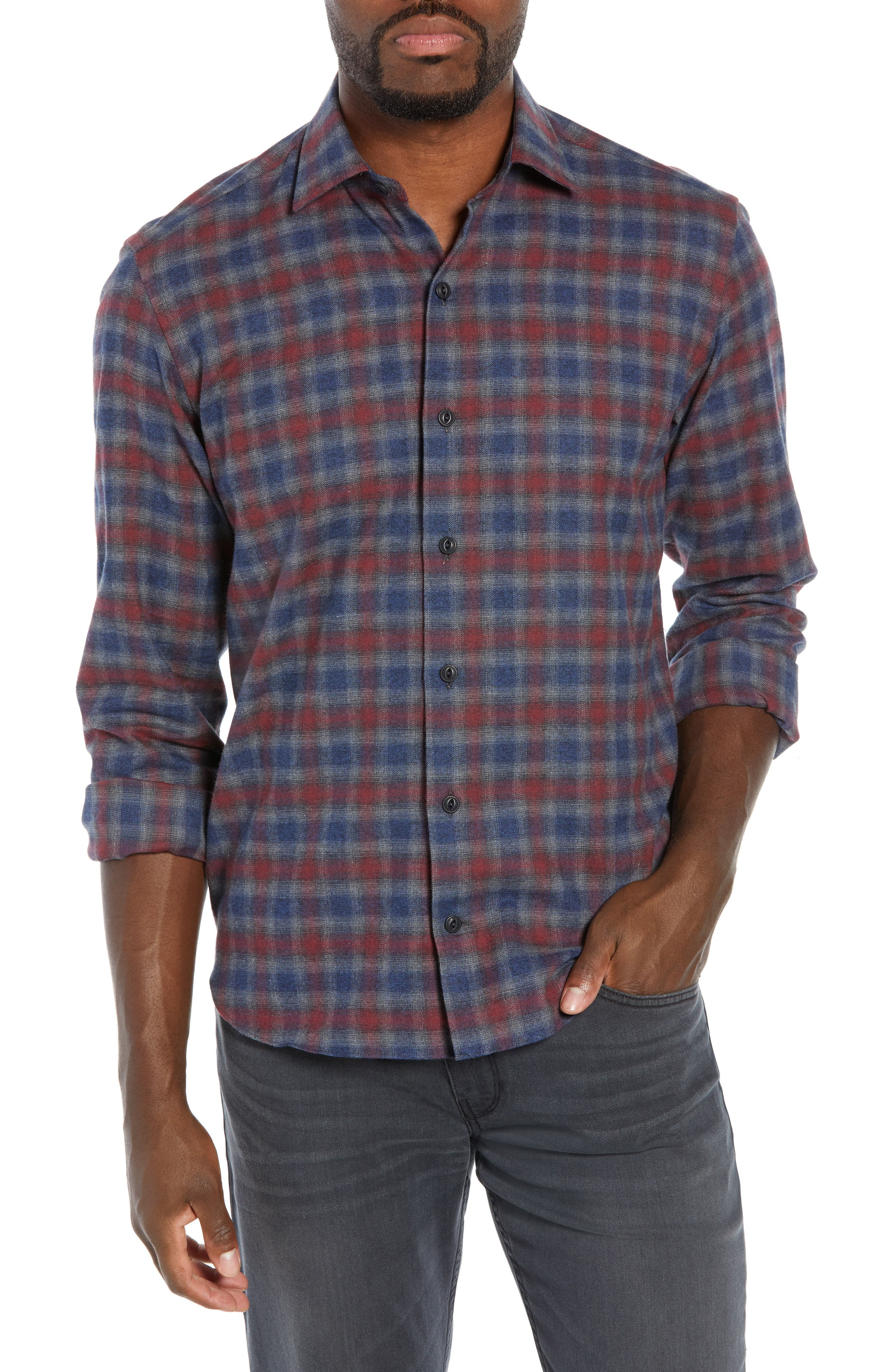 CULTURATA Supersoft Tailored Fit Check Sport Shirt in Charcoal