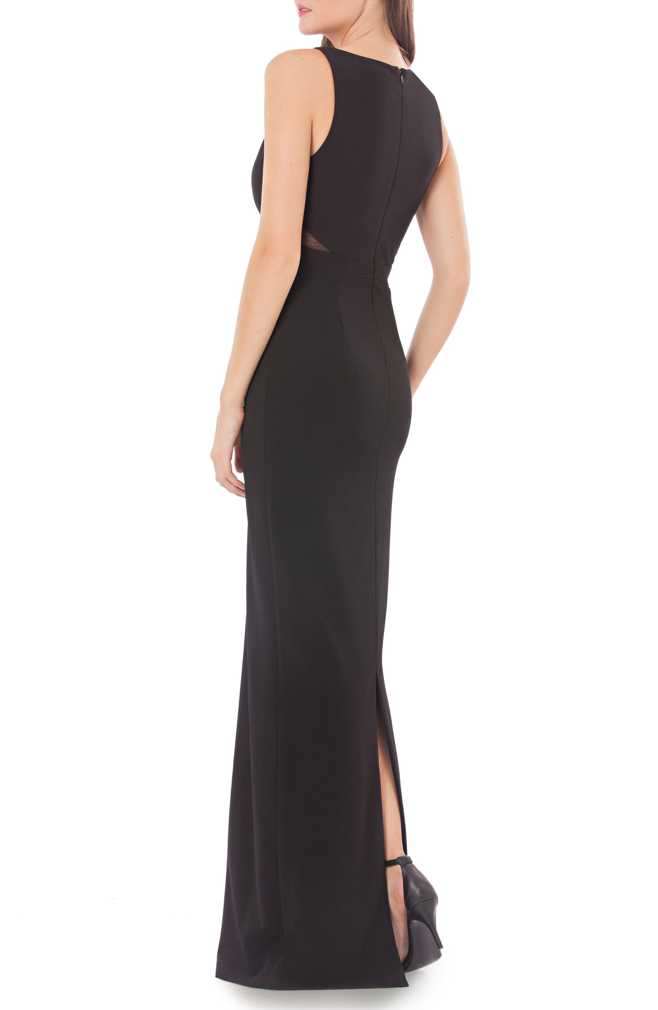 Cross Front Stretch Crepe Column Gown,                             Alternate thumbnail 2, color,                             001