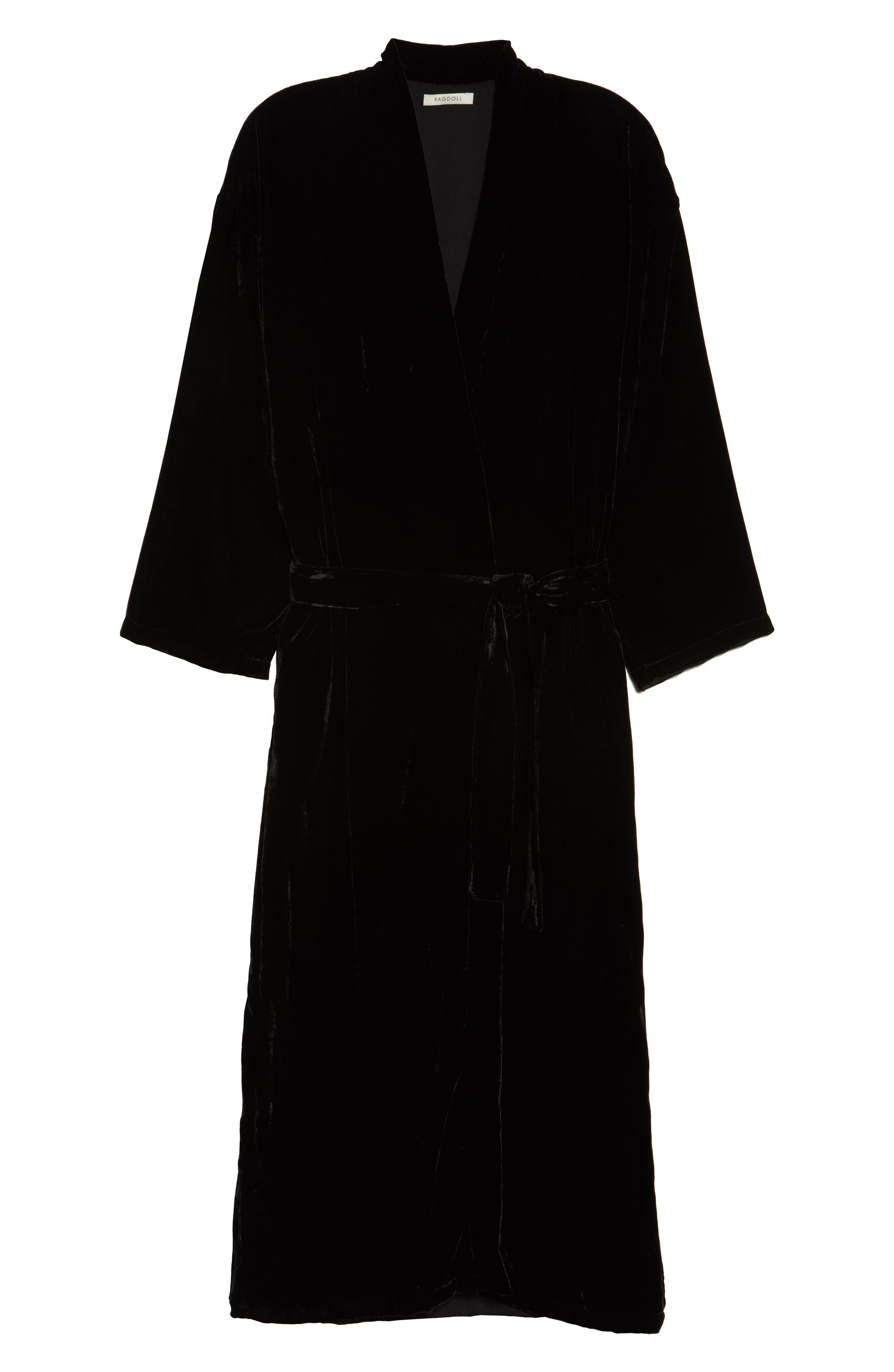 Long Velvet Robe,                             Alternate thumbnail 6, color,                             BLACK