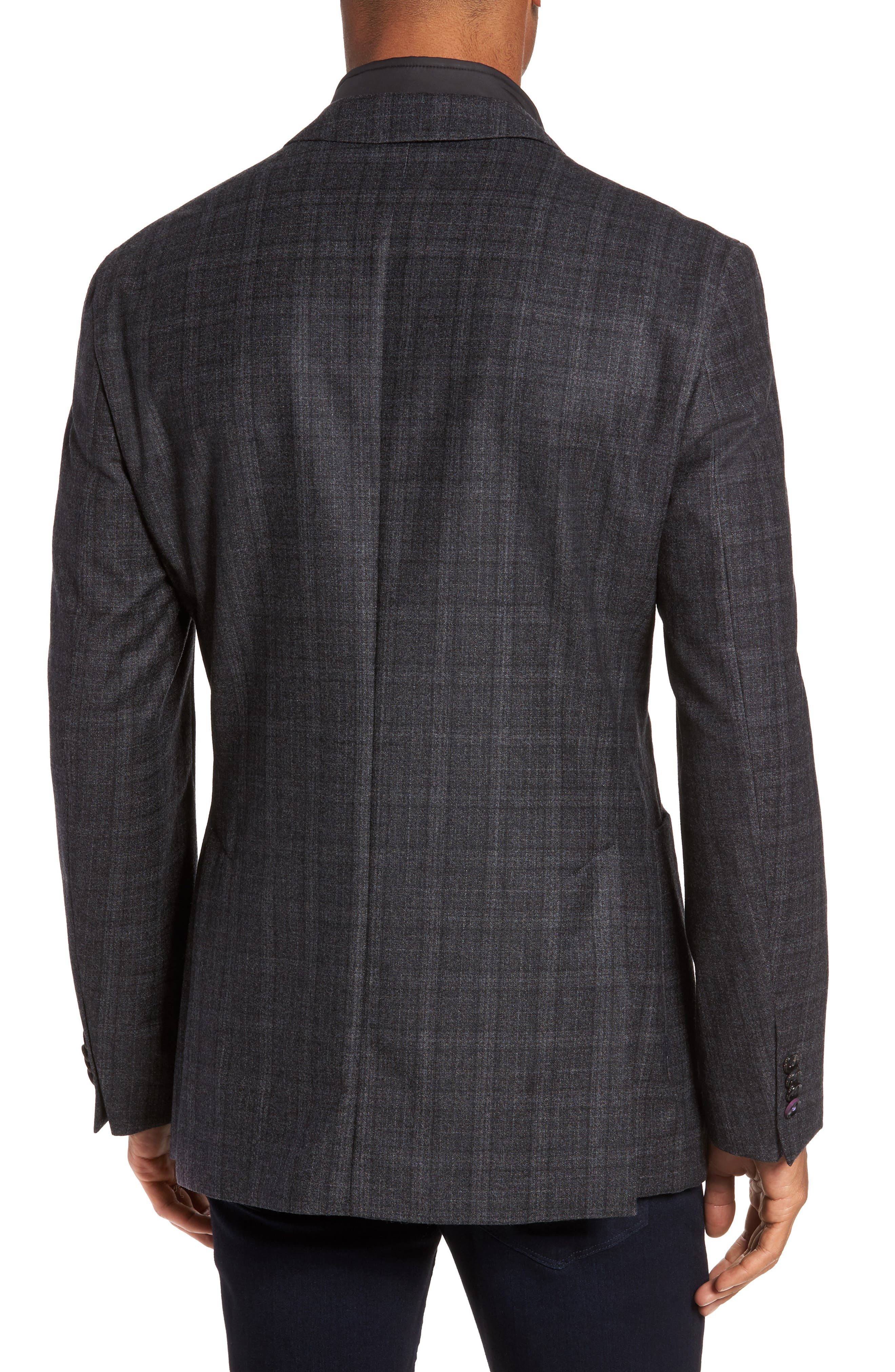 Trim Fit Plaid Wool Sport Coat,                             Alternate thumbnail 2, color,                             020