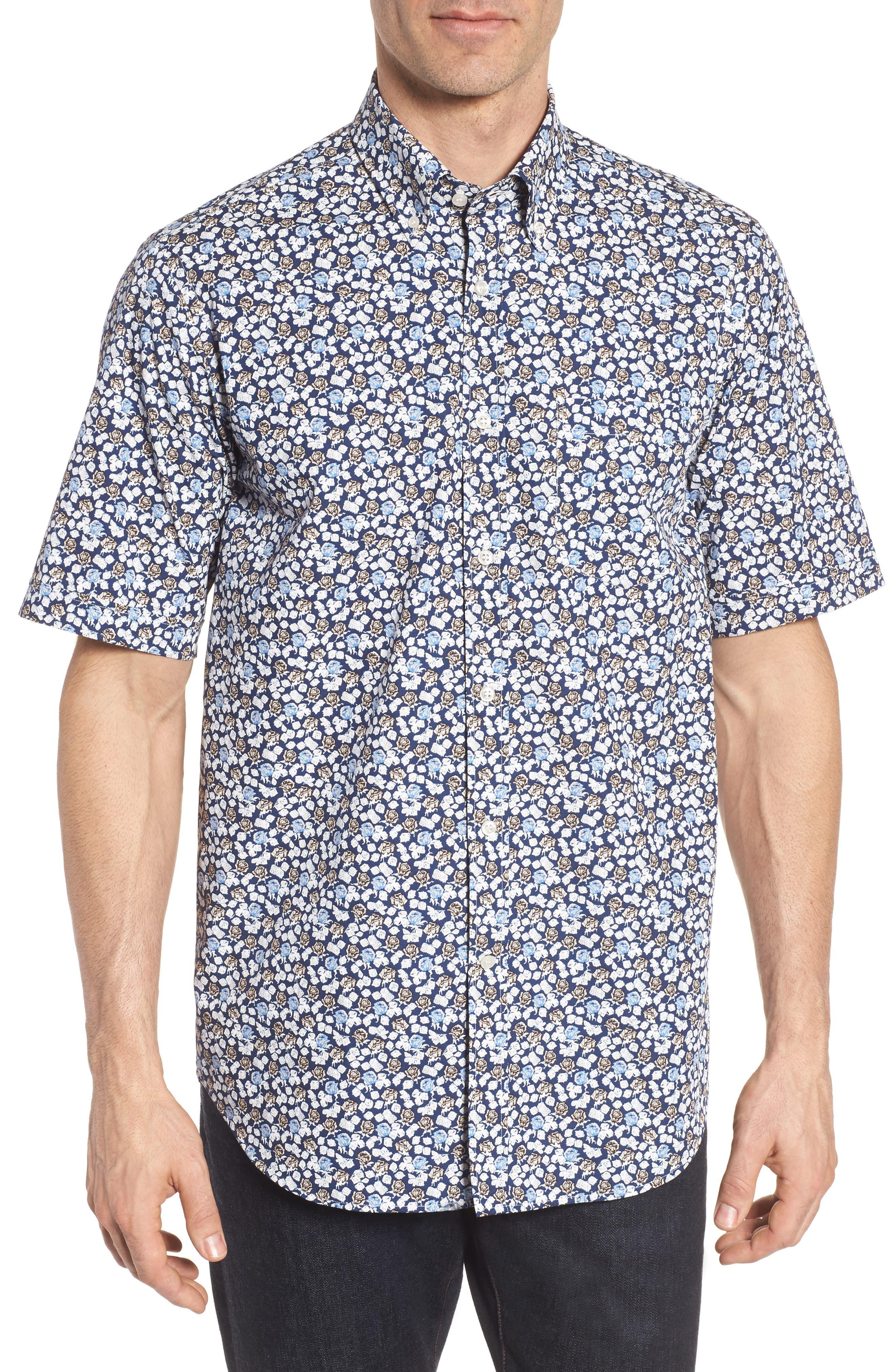 Paul&Shark Regular Fit Floral Sport Shirt,                             Main thumbnail 1, color,