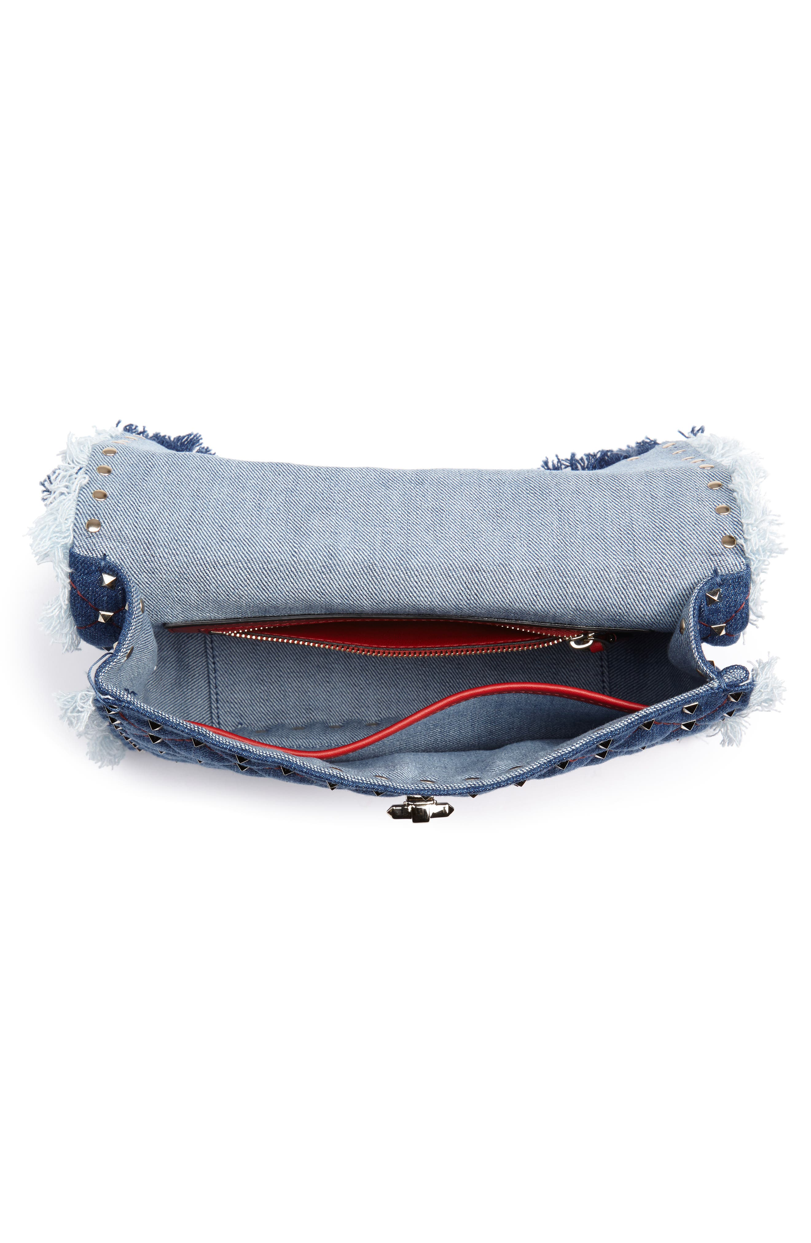 Rockstud Spike Medium Shoulder Bag,                             Alternate thumbnail 4, color,                             DENIM