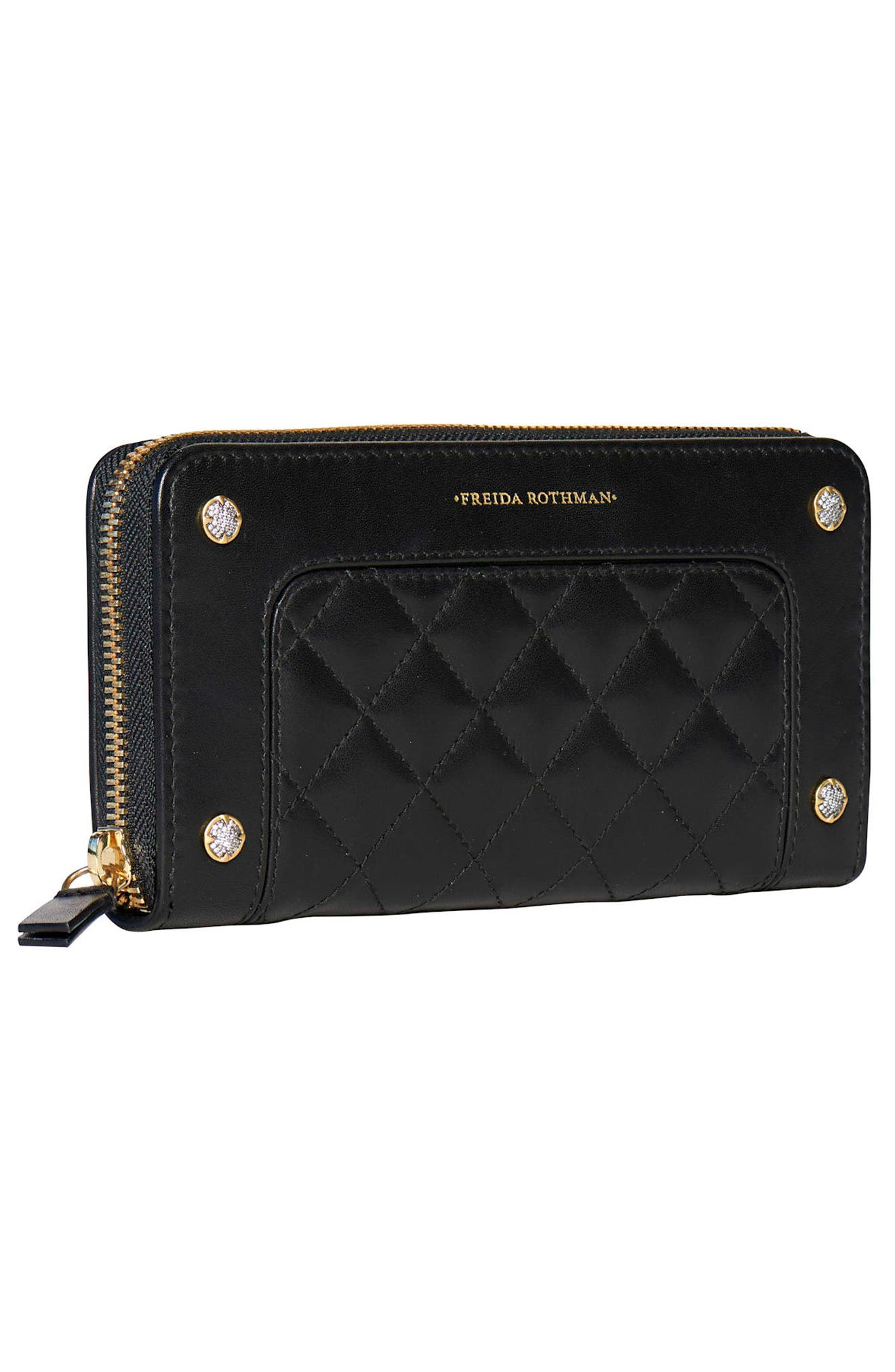 Quilted Leather Zip Around Wallet,                             Alternate thumbnail 2, color,                             BLACK