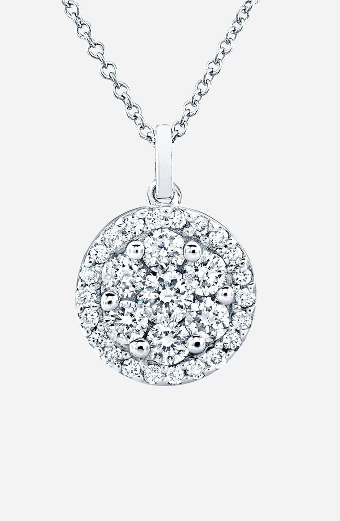 Flower Button Diamond & Gemstone Pendant Necklace,                             Main thumbnail 1, color,                             710