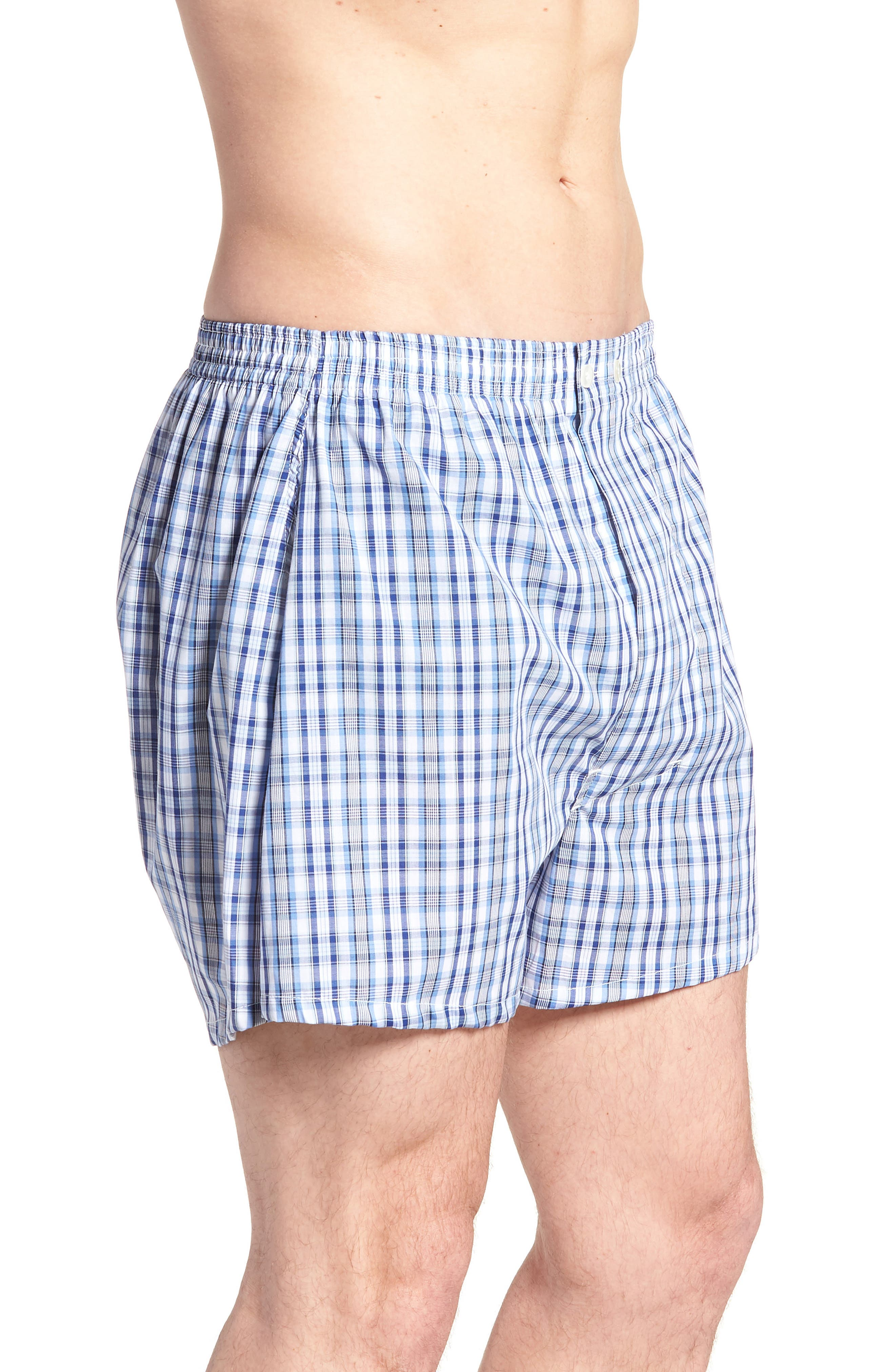 3-Pack Classic Fit Boxers,                             Alternate thumbnail 4, color,                             BLUE DAZZLE SOLID- PLAID PACK