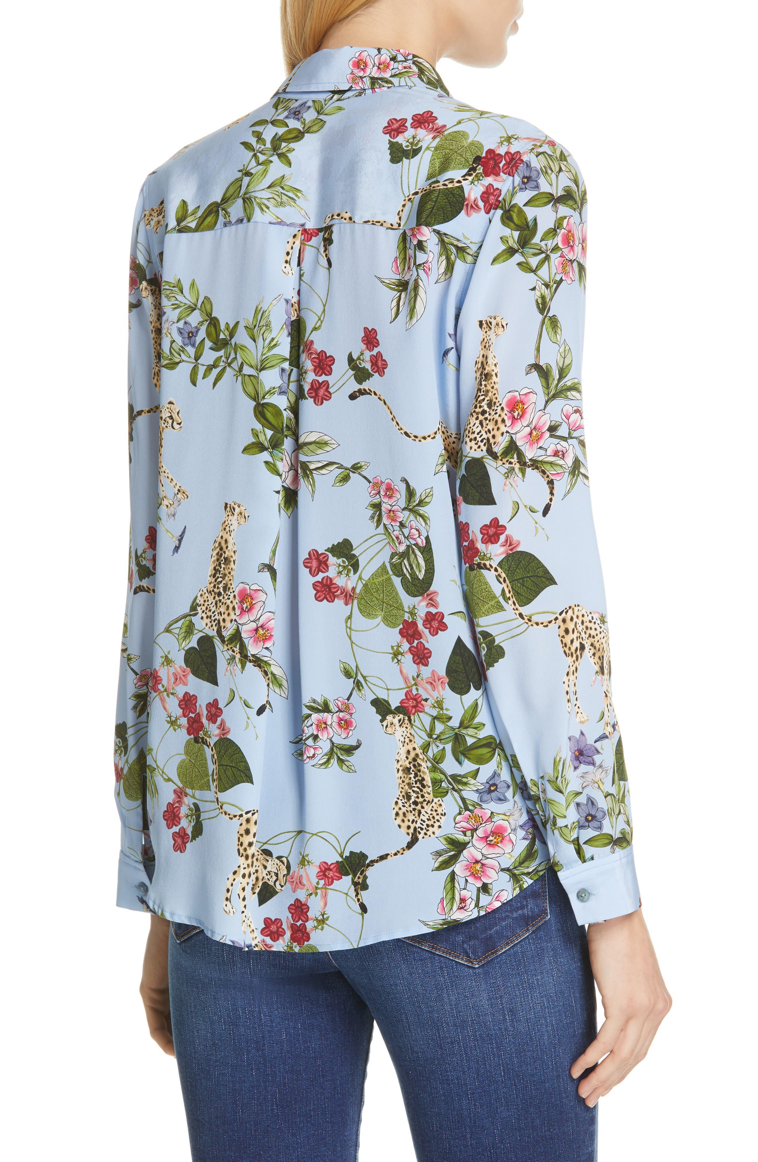 Nina Cheetah & Floral Print Silk Blouse,                             Alternate thumbnail 2, color,                             SKY BLUE MULTI