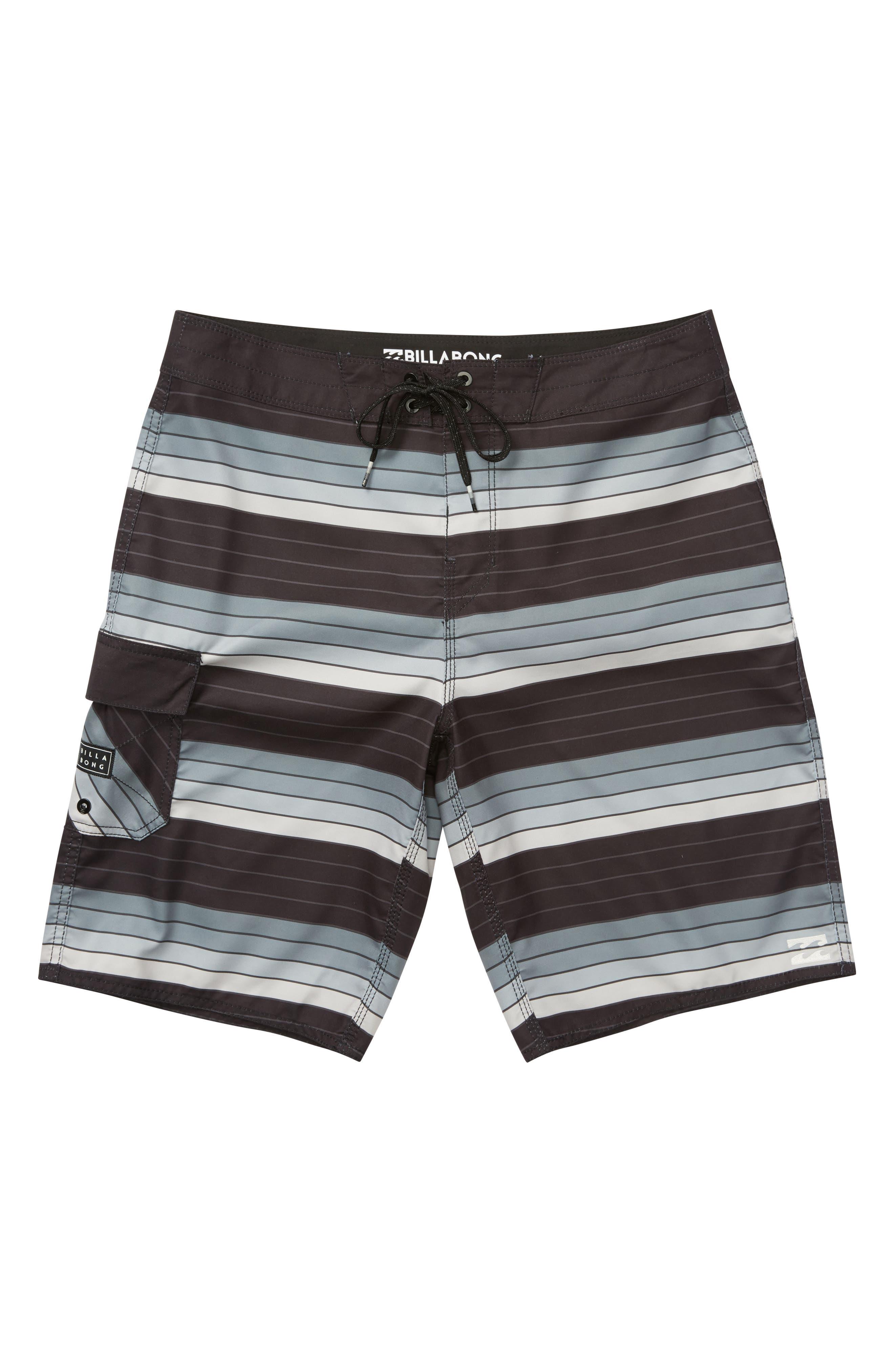 All Day OG Stripe Board Shorts,                         Main,                         color, SILVER