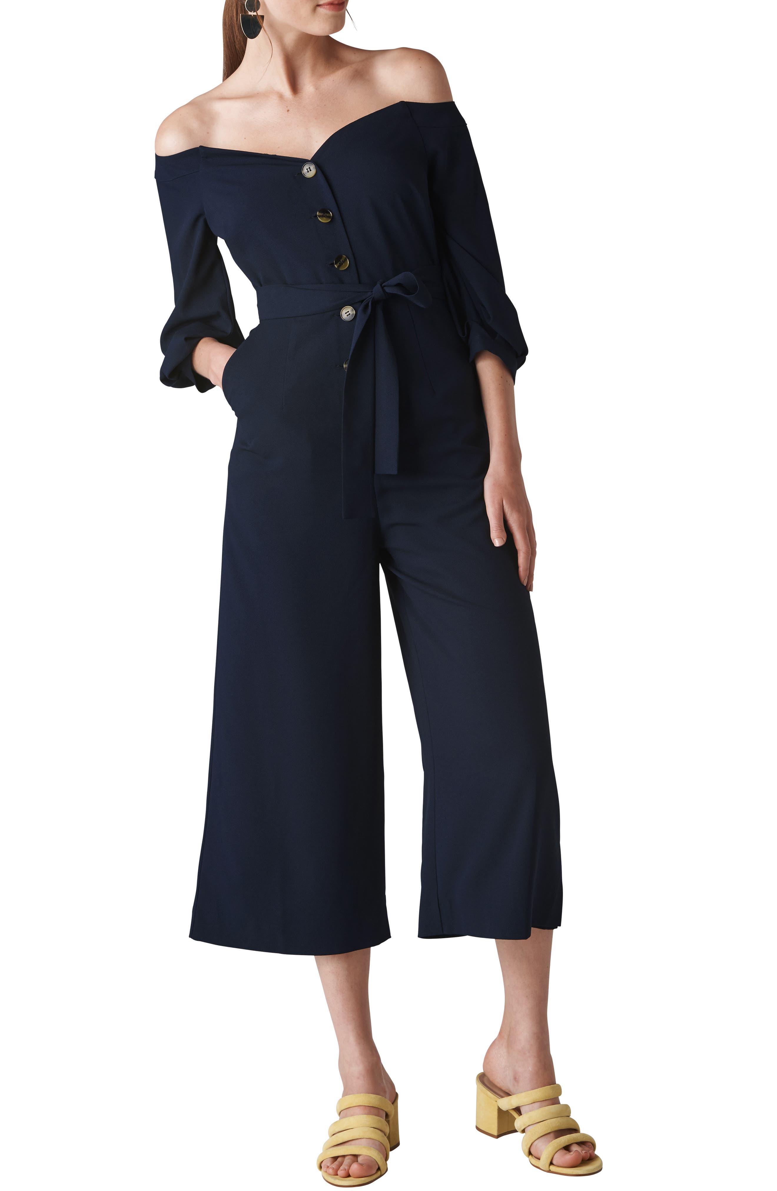 Carina Off the Shoulder Crop Jumpsuit,                         Main,                         color, NAVY