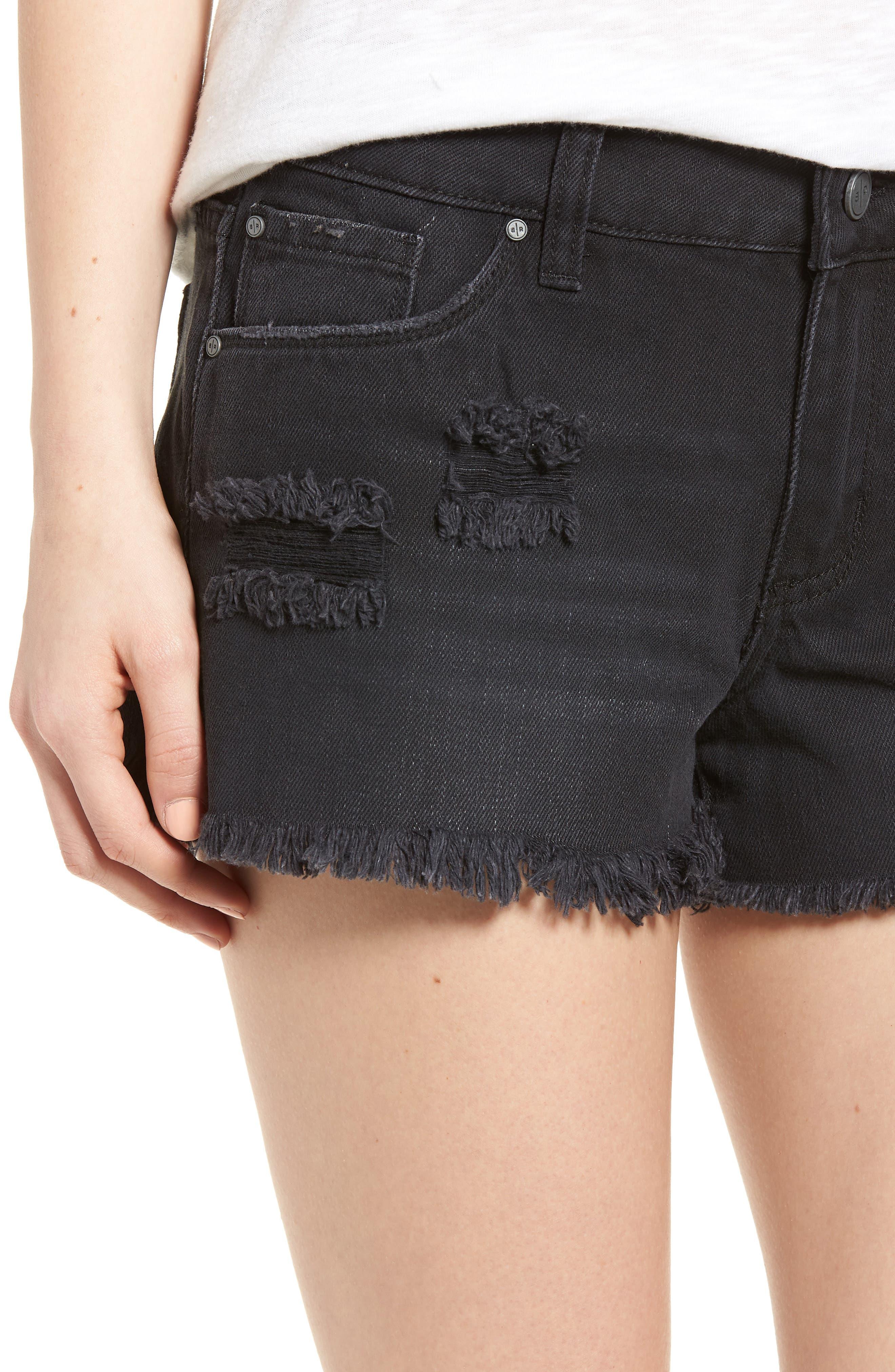 Fray Hem Denim Shorts,                             Alternate thumbnail 4, color,                             001