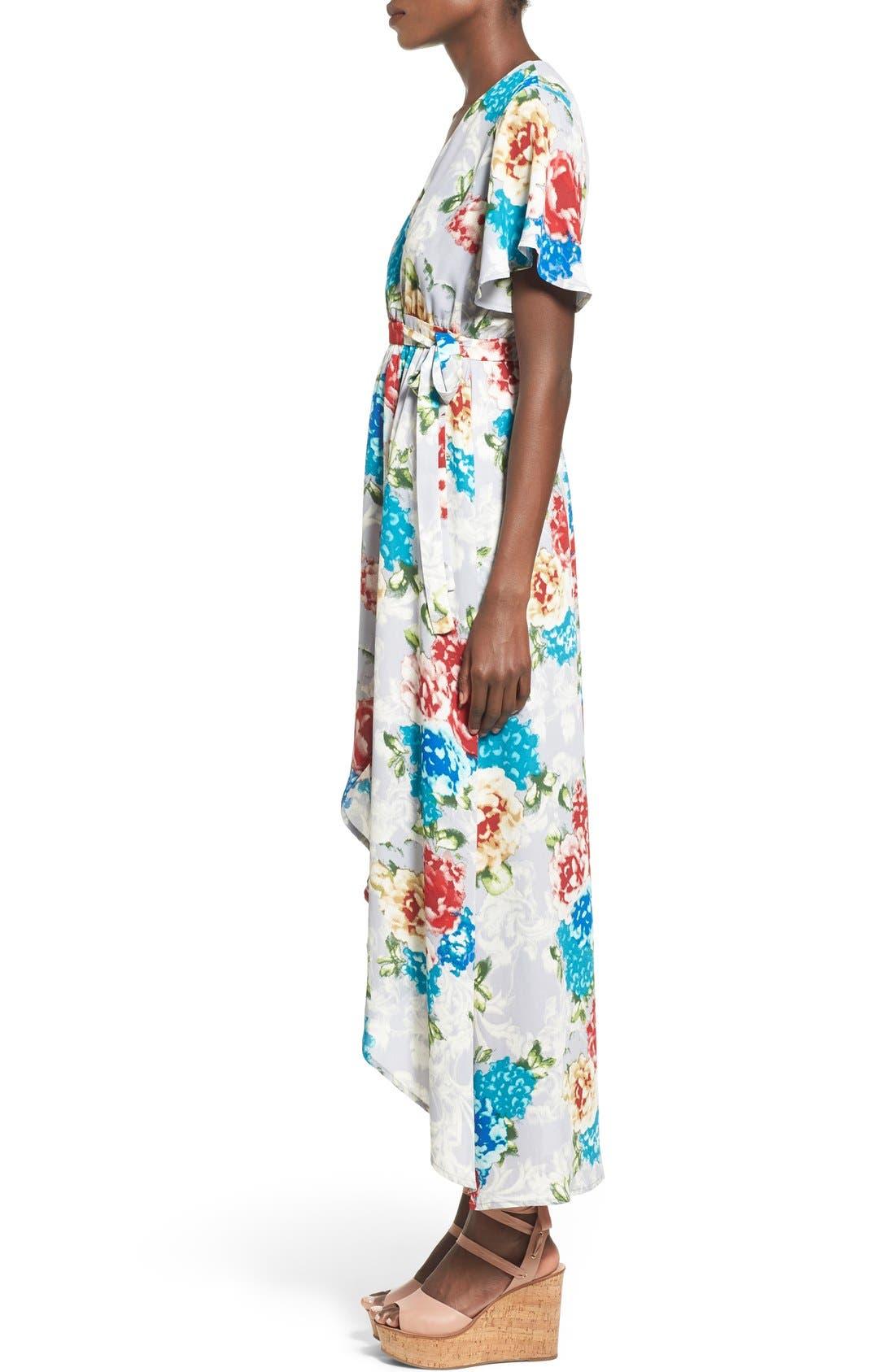Floral Print High/Low Wrap Dress,                             Alternate thumbnail 4, color,                             020