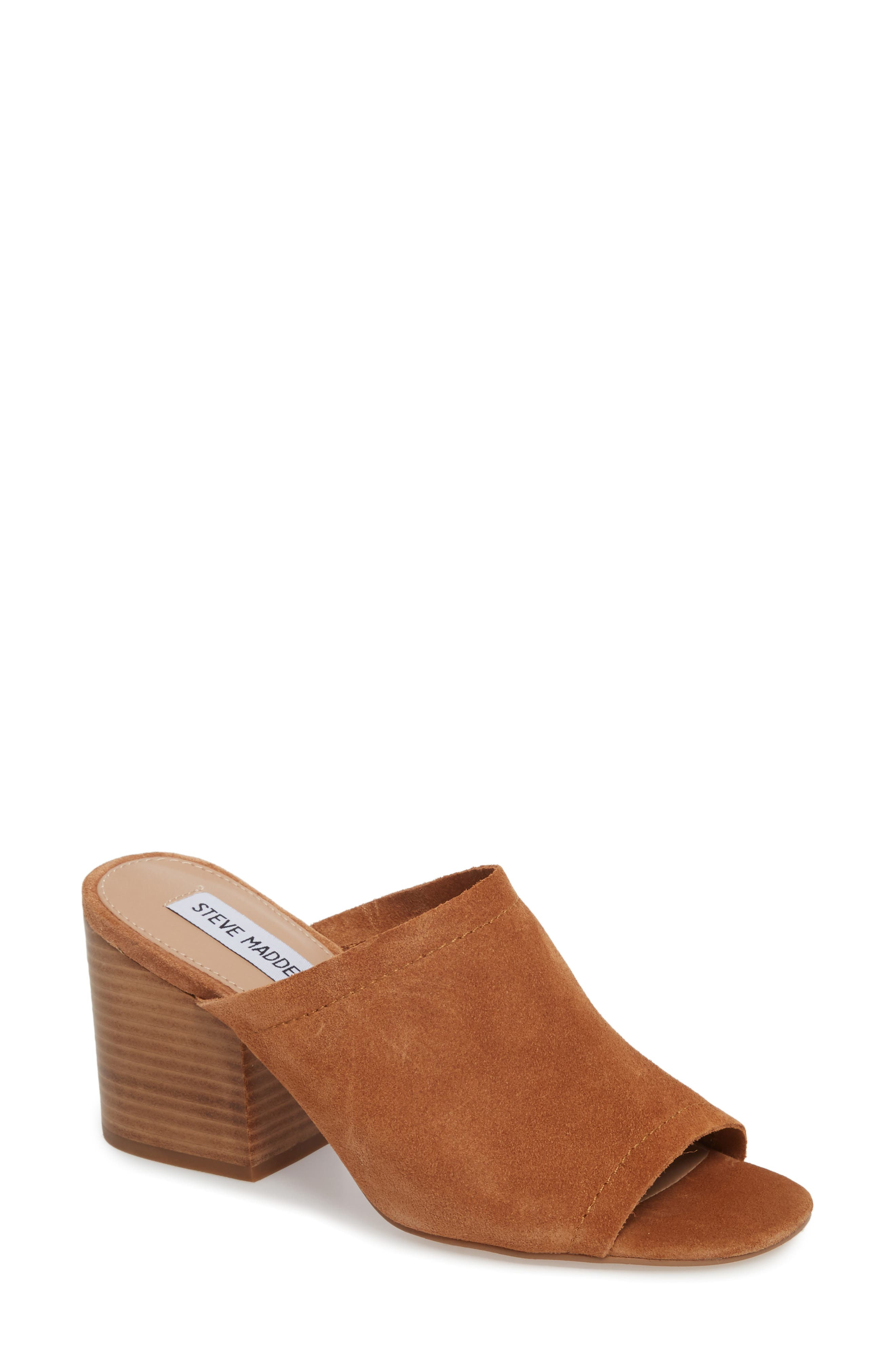 Doran Mule Sandal,                         Main,                         color, CHESTNUT SUEDE