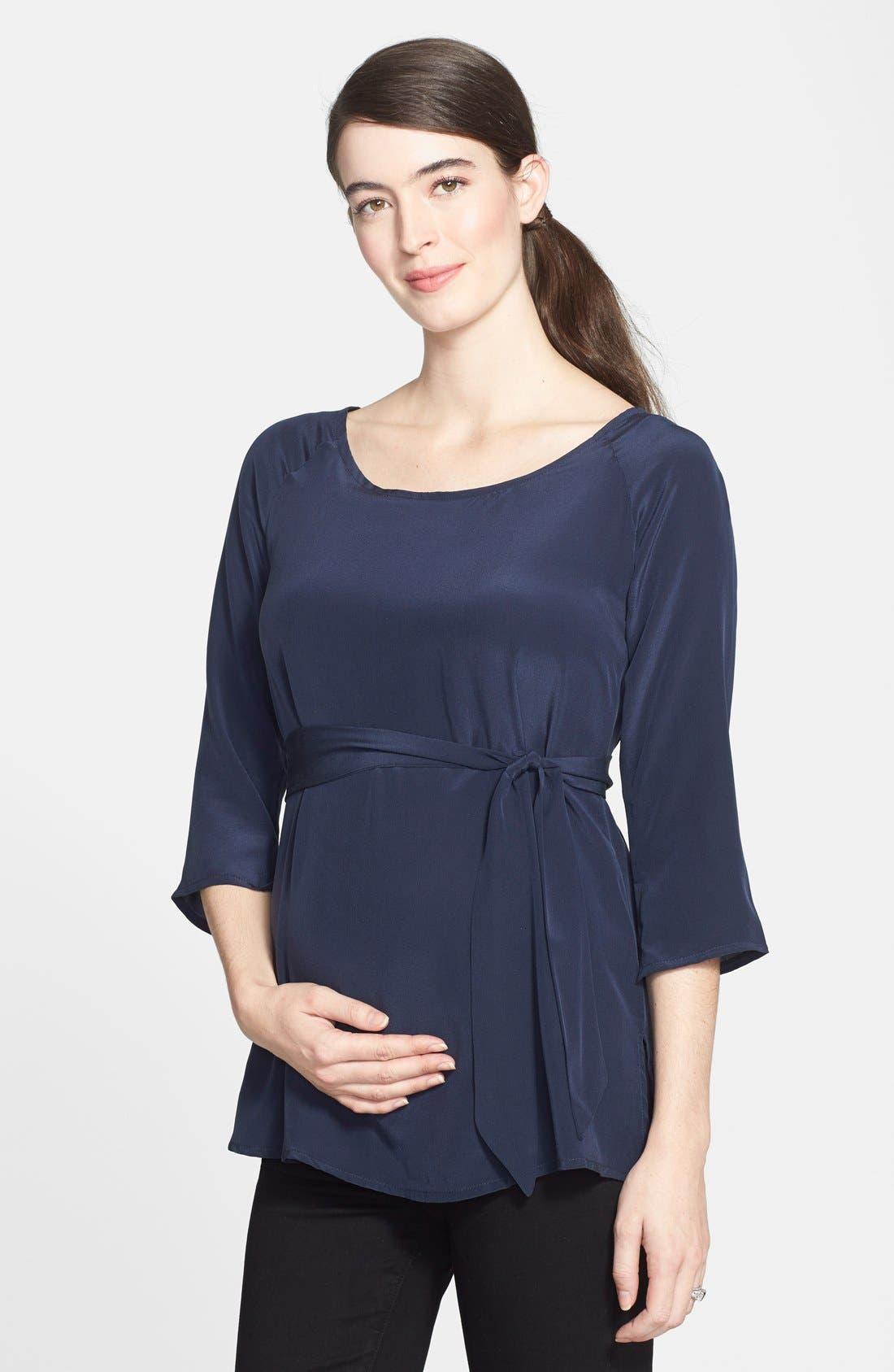 EVA ALEXANDER London Silk Maternity Tunic, Main, color, 460