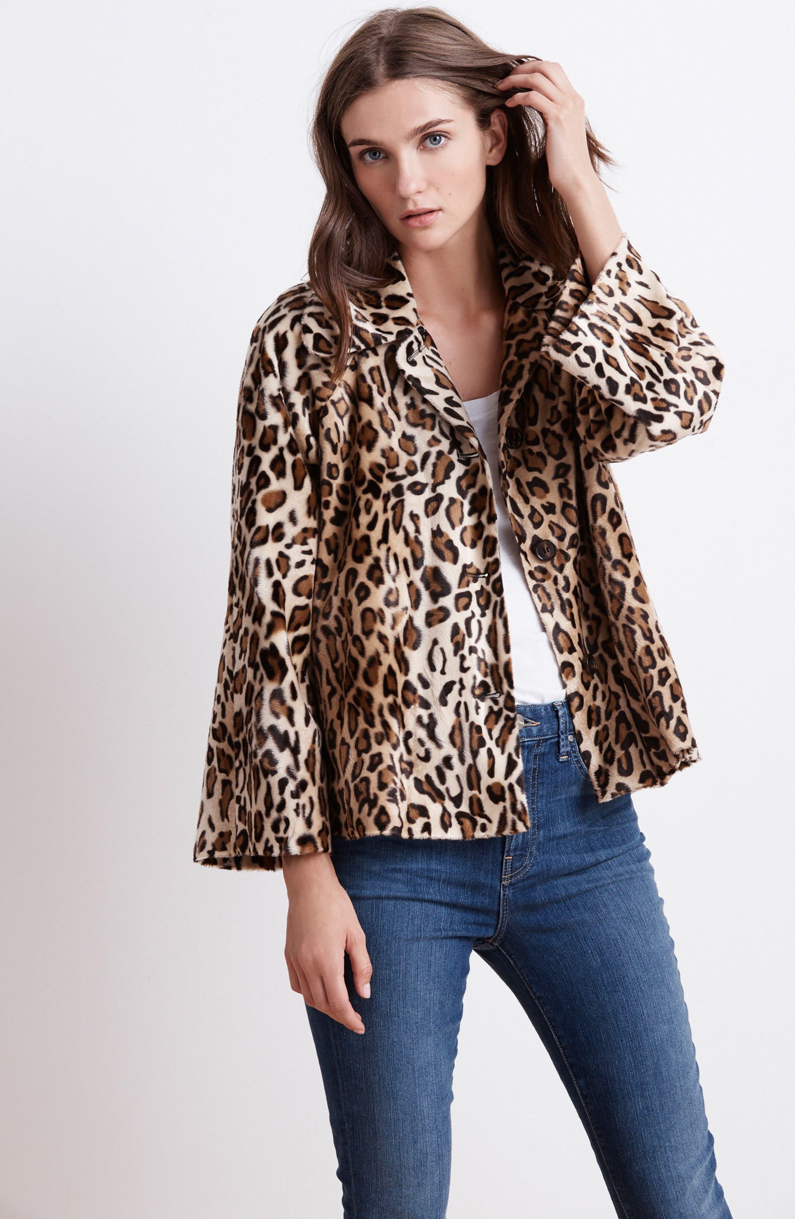 Faux Fur Leopard Jacket,                             Alternate thumbnail 8, color,