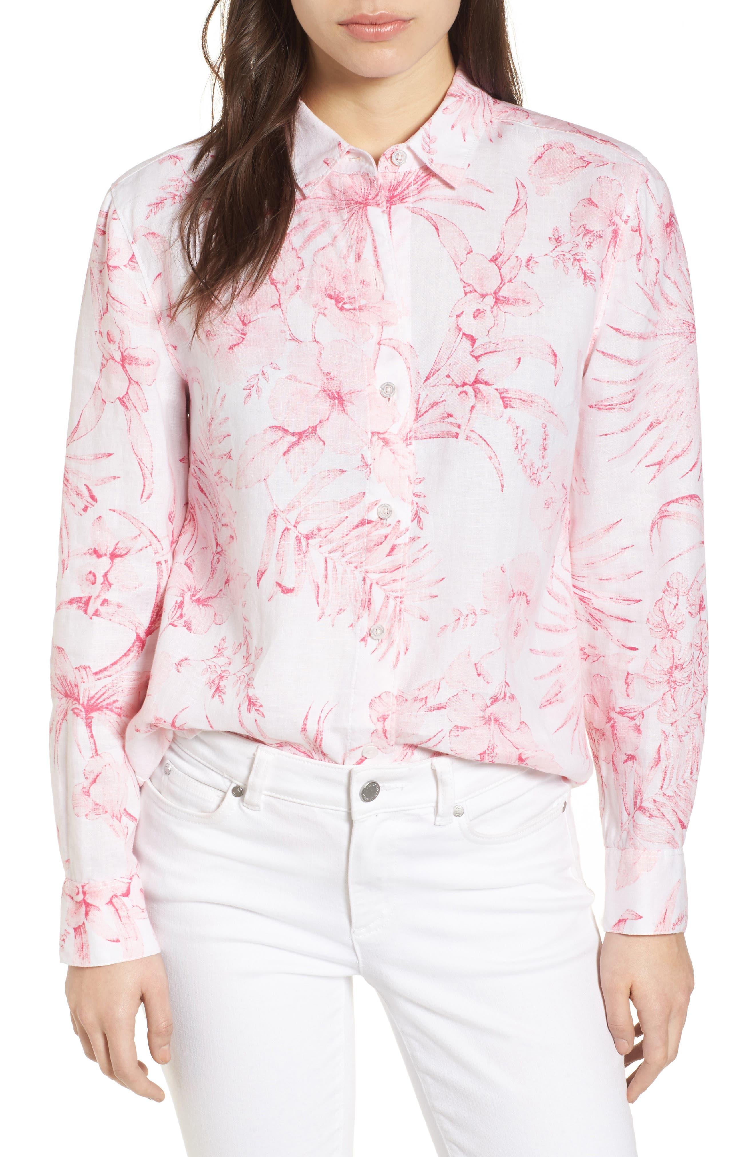 Tulum Tropical Linen Shirt,                         Main,                         color, PINK LACE